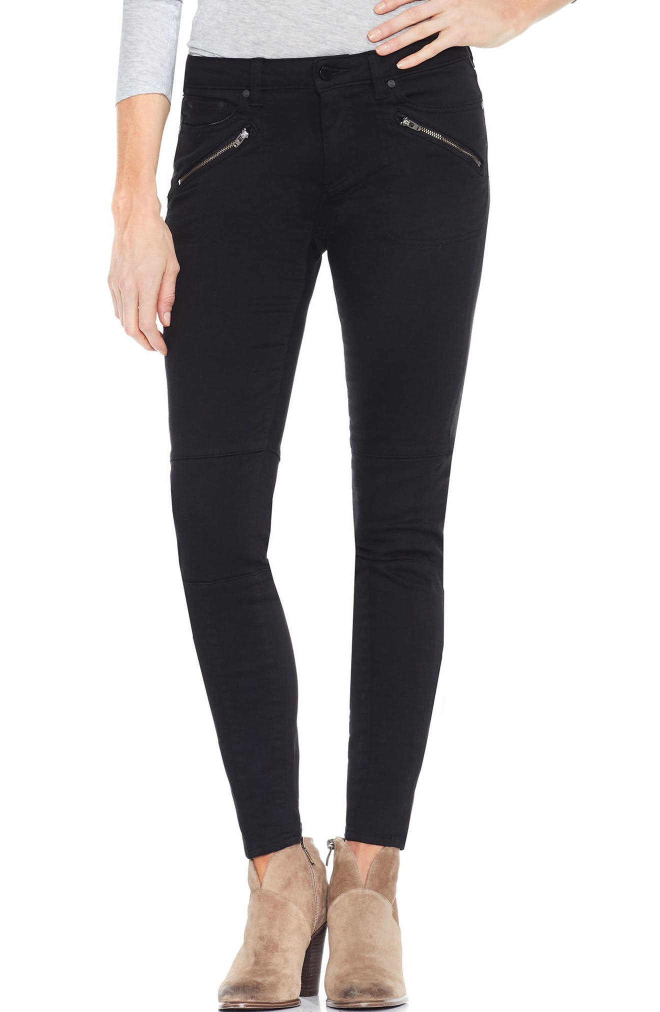 Two by Vince Camuto D-Luxe Twill Moto Jeans,                             Main thumbnail 1, color,                             RICH BLACK