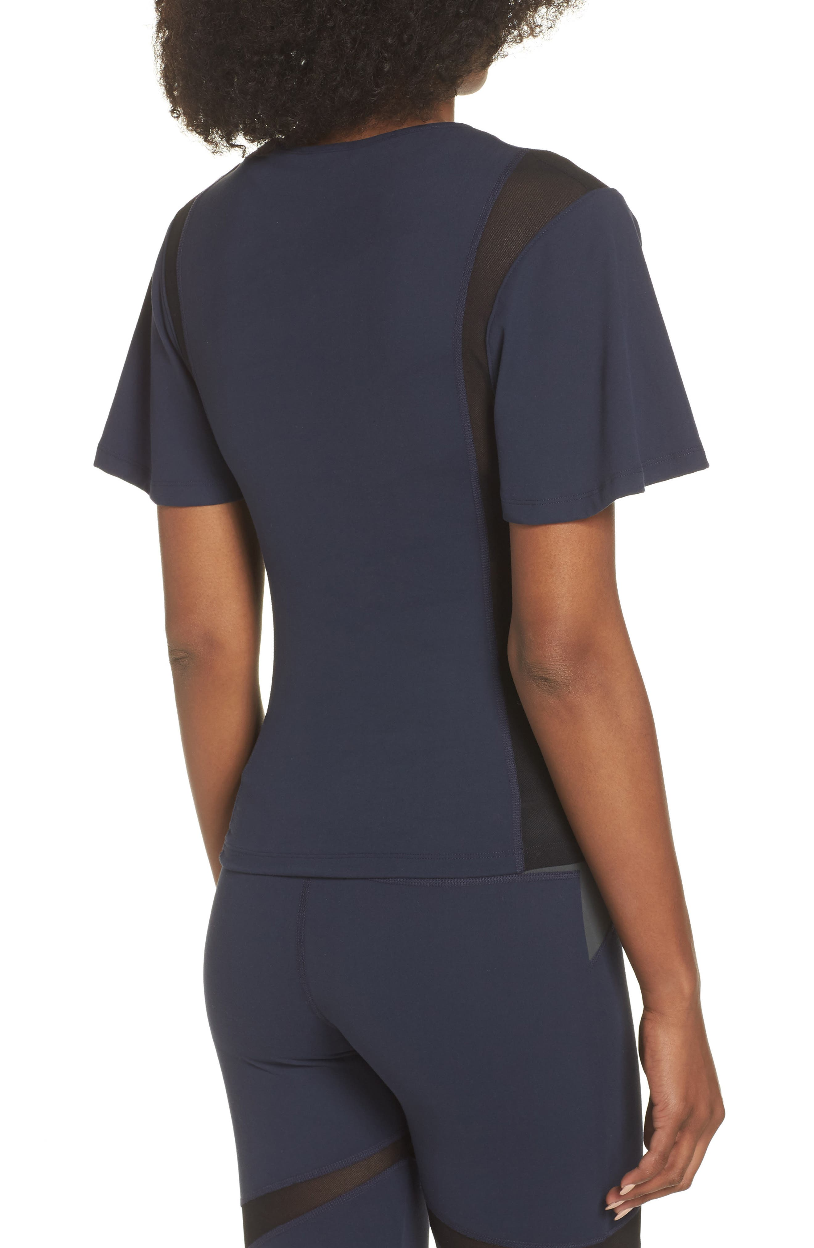 BoomBoom Athletica Wing Sleeve Tee,                             Alternate thumbnail 2, color,                             NAVY/ BLACK