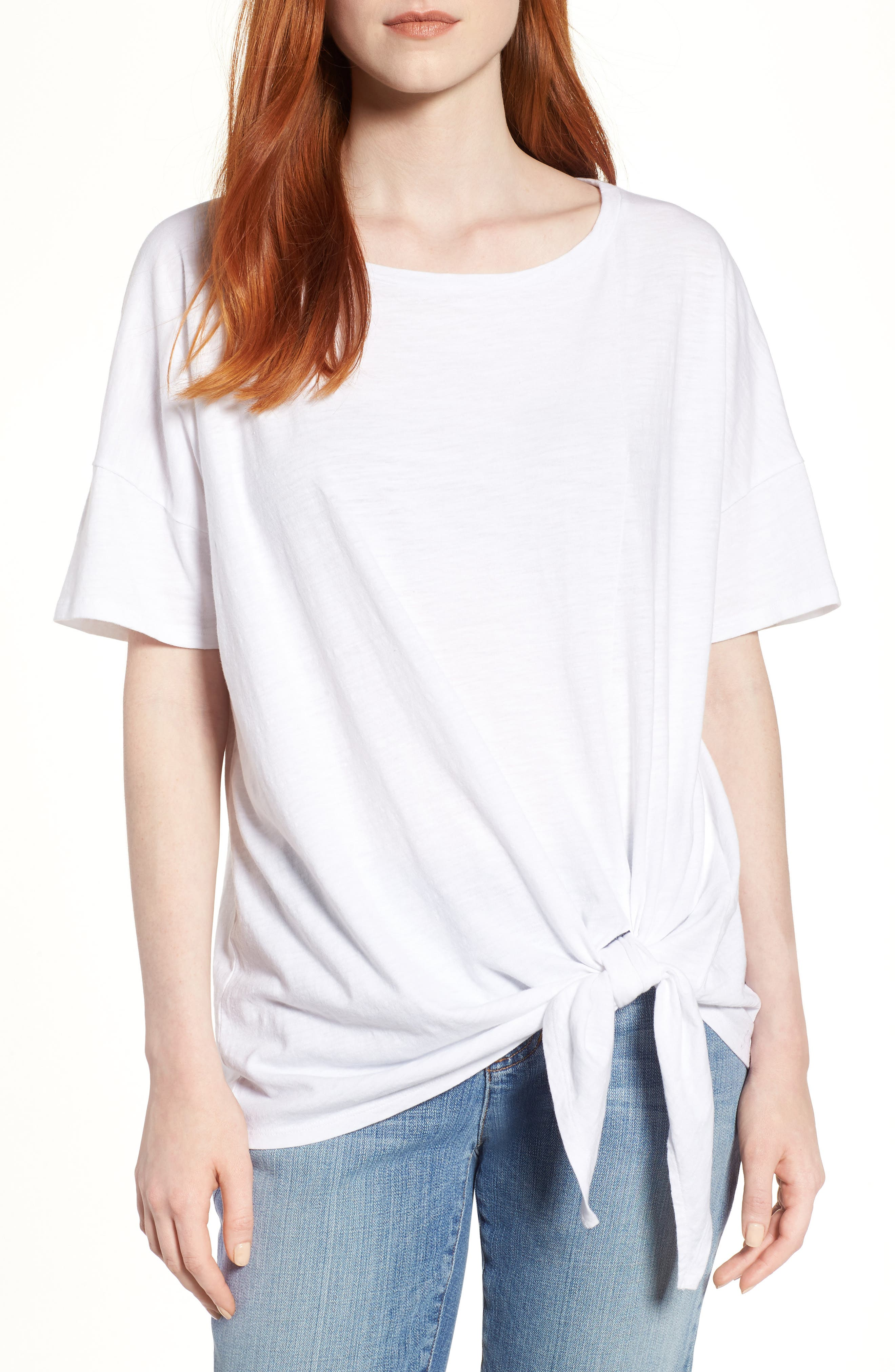 Tie Hem Organic Cotton Tee,                             Main thumbnail 2, color,