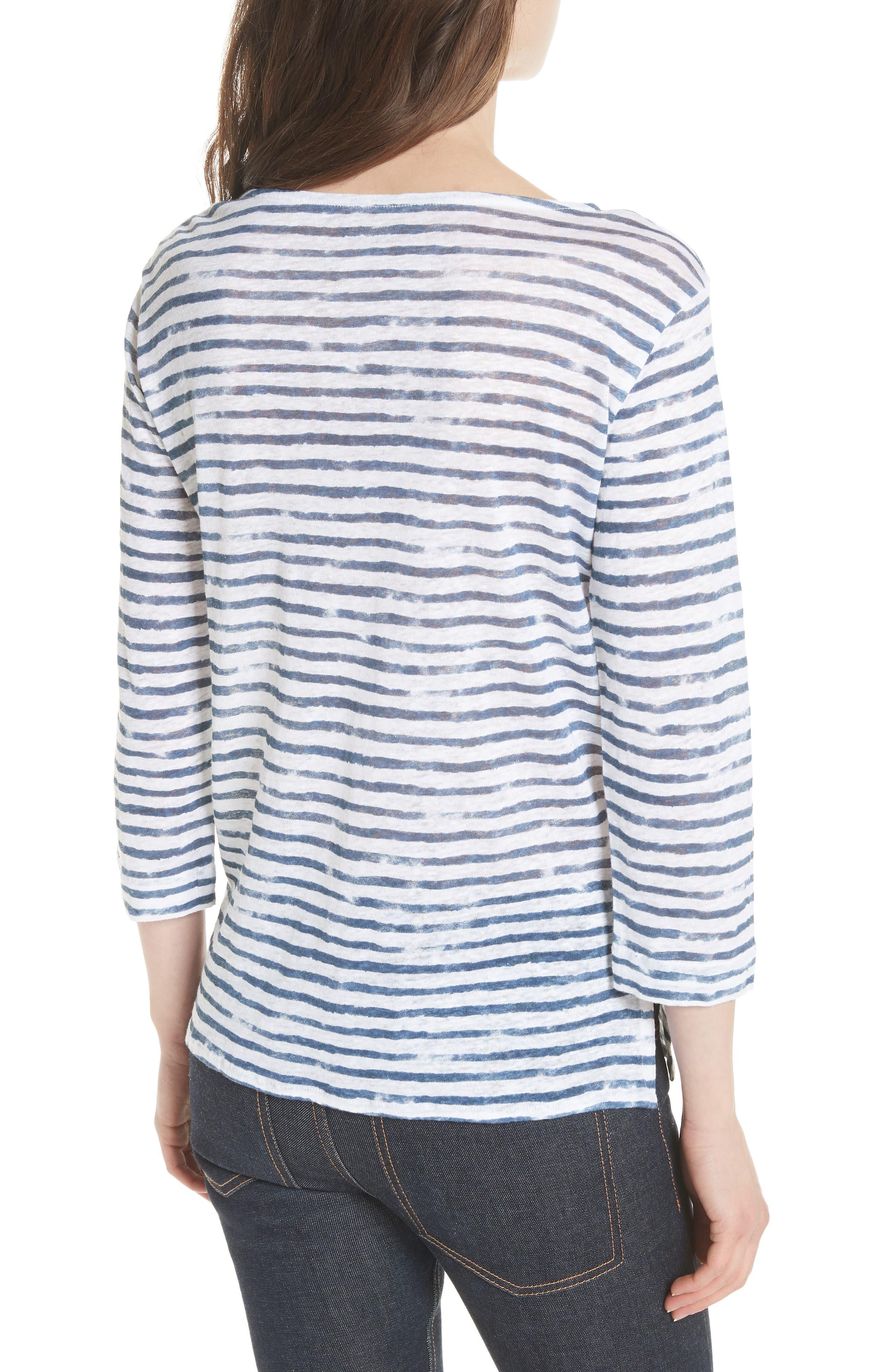 Stripe Three Quarter Sleeve Tee,                             Alternate thumbnail 2, color,                             104