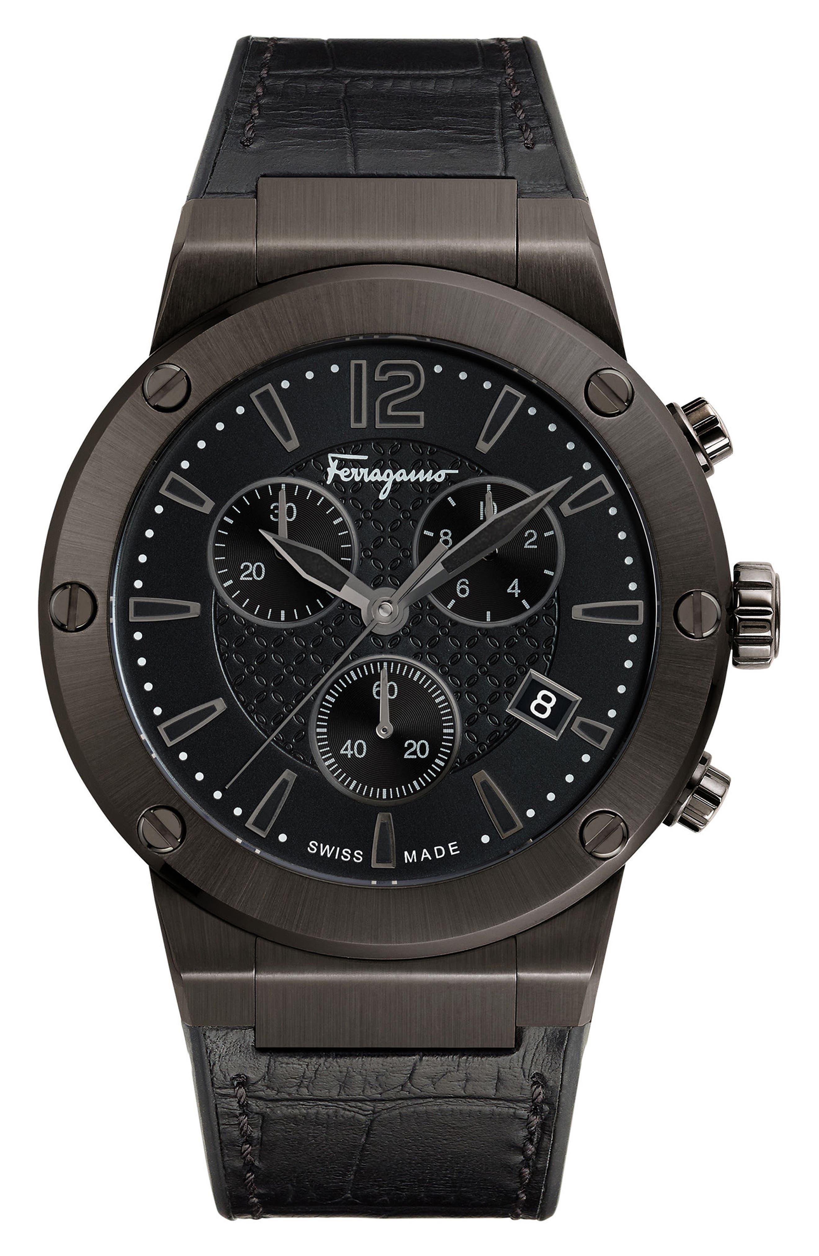 SALVATORE FERRAGAMO F80 Chronograph Leather Strap Watch, 44mm, Main, color, GUNMETAL/ BLACK/ GUNMETAL