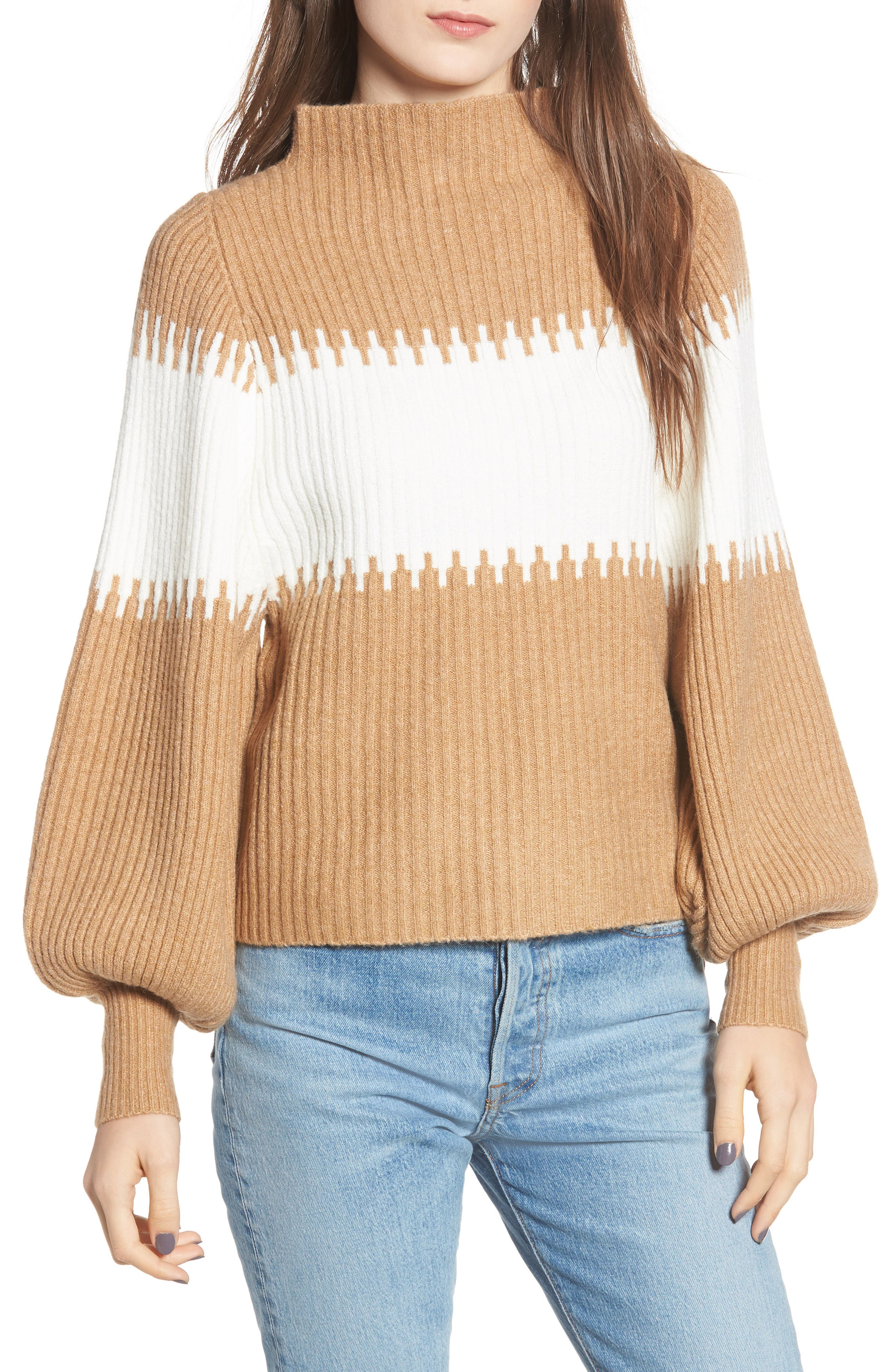 Sofia Funnel Neck Sweater,                             Main thumbnail 1, color,                             CAMEL/ WHITE