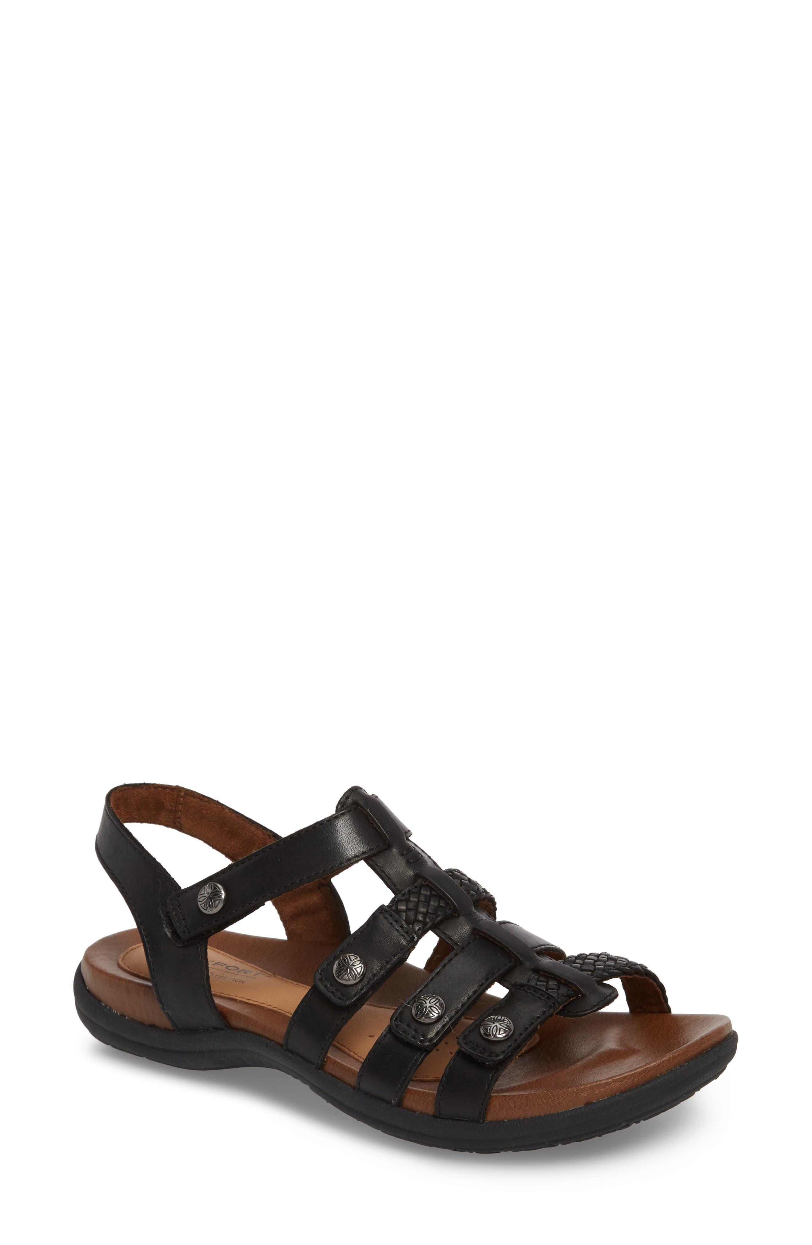 Rubey T-Strap Sandal,                             Main thumbnail 1, color,                             BLACK LEATHER