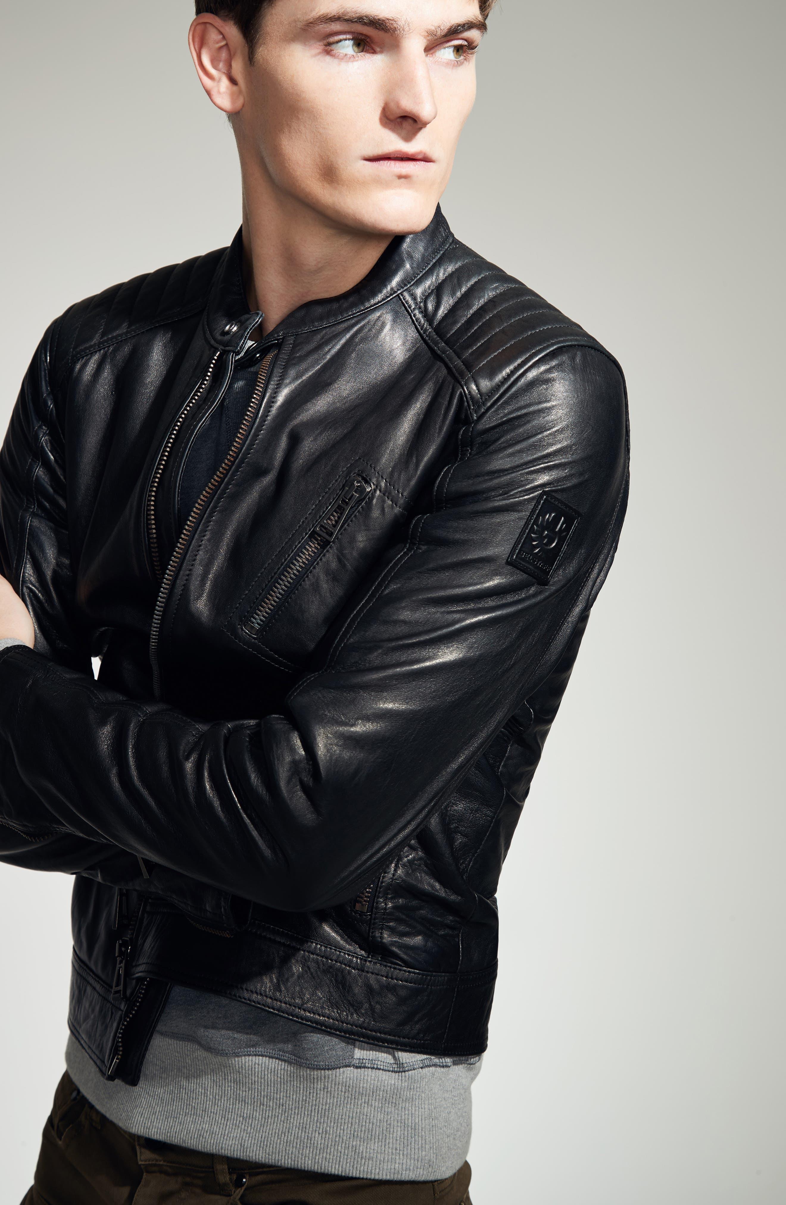 V Racer Leather Jacket,                             Alternate thumbnail 2, color,                             BLACK