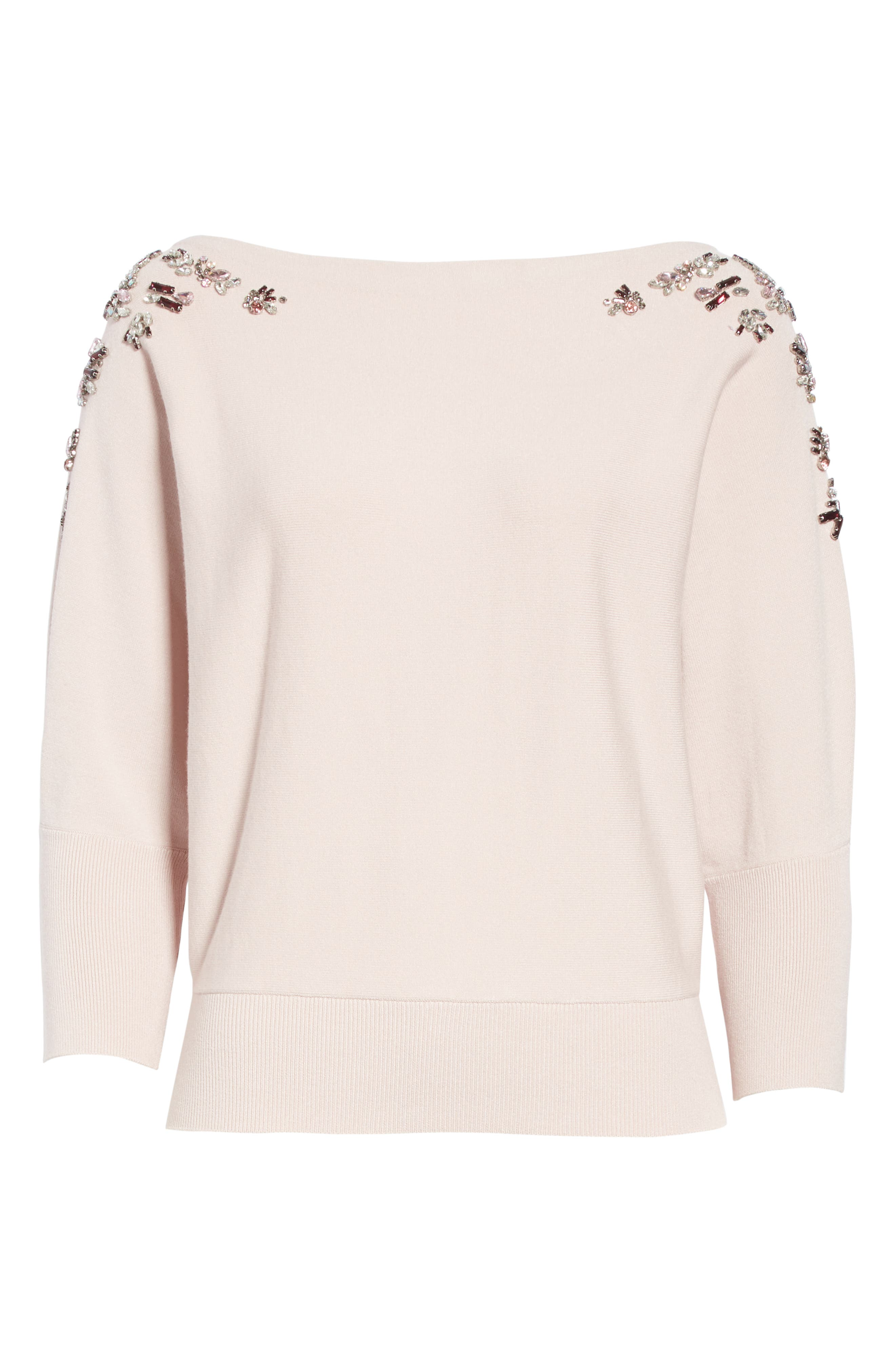 MILLY,                             Faux Gem Embellished Sweater,                             Alternate thumbnail 6, color,                             BALLET