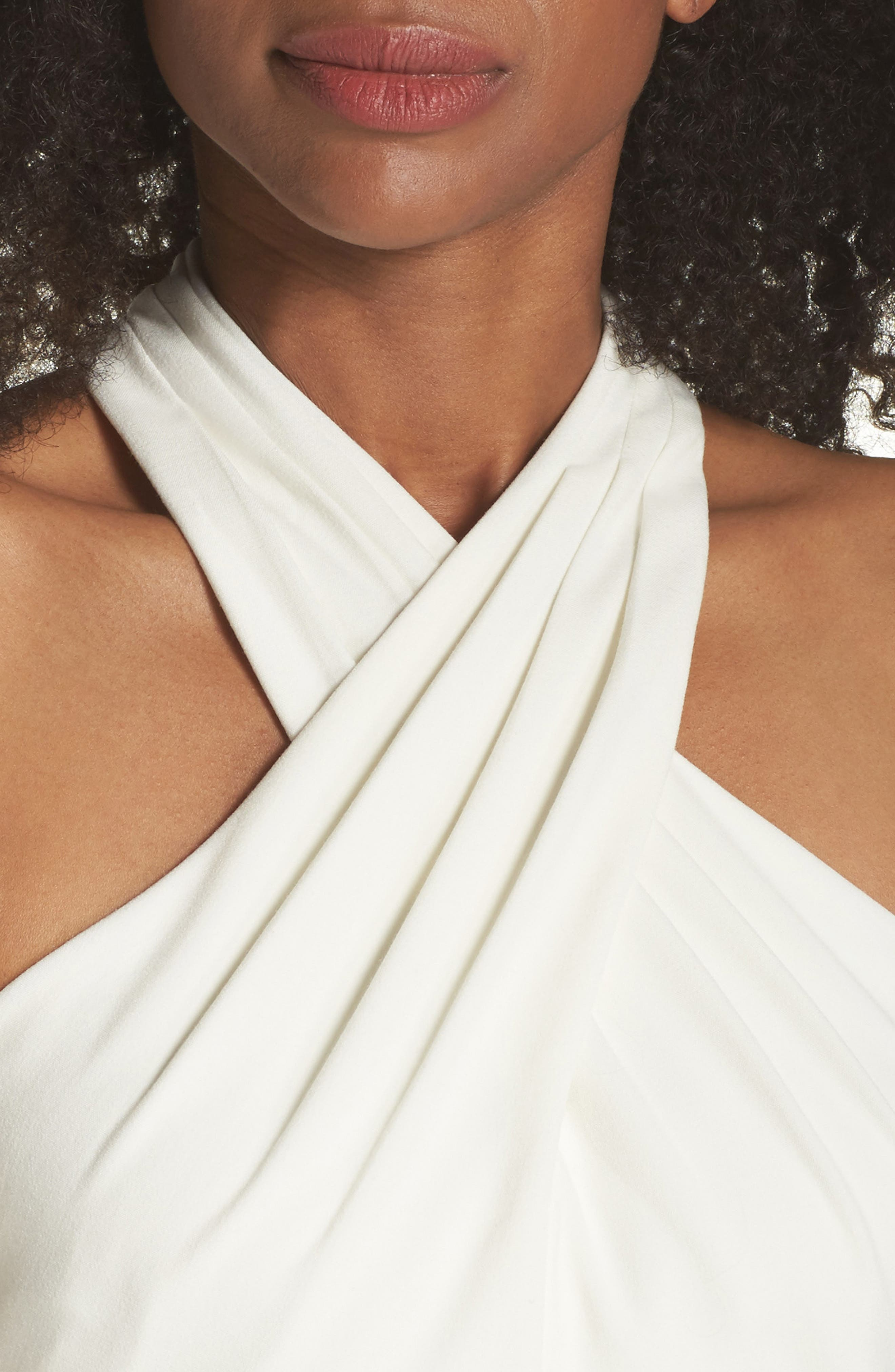 Side Pleat Crossneck Gown,                             Alternate thumbnail 4, color,                             IVORY