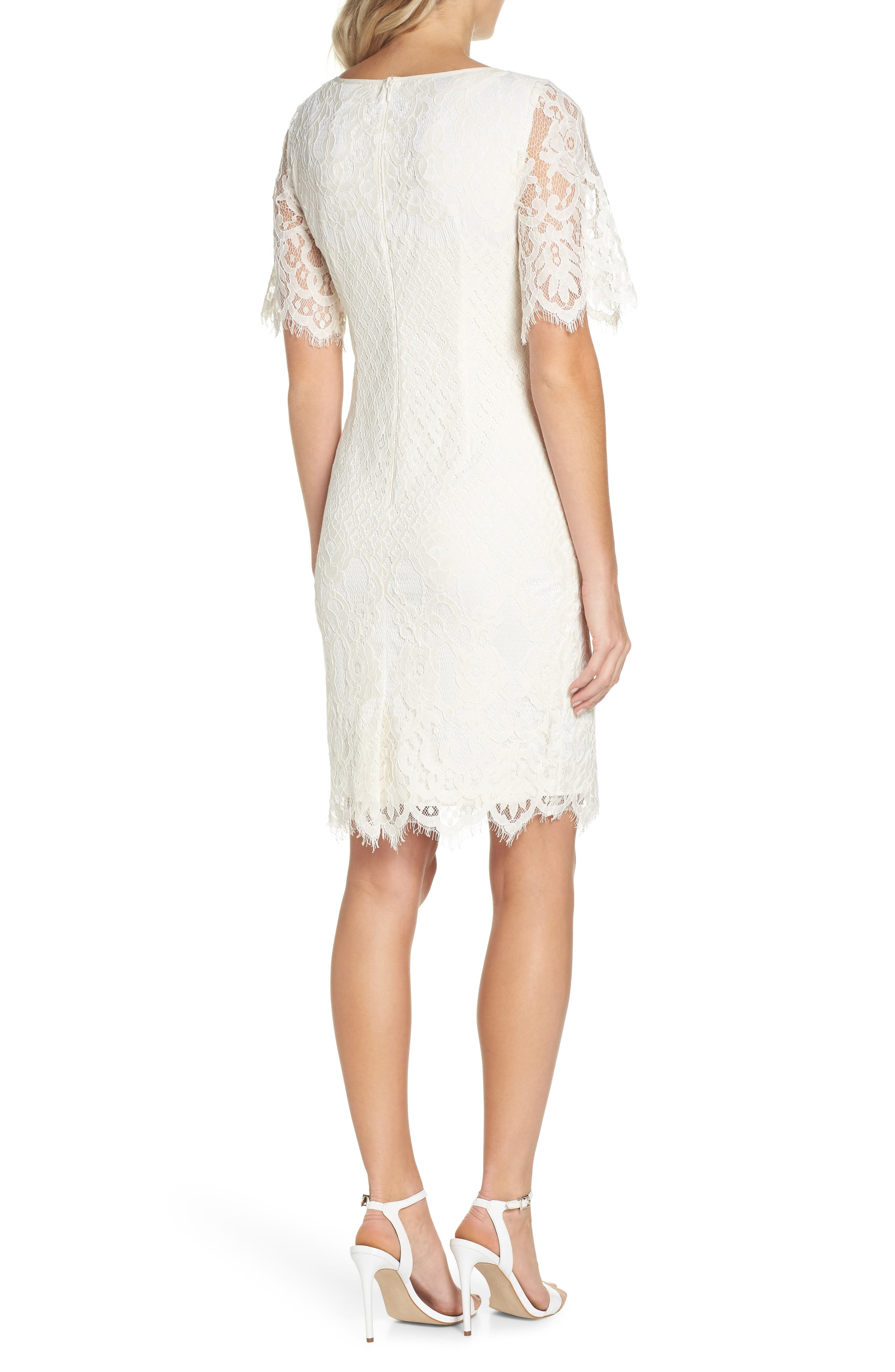 Georgia Scalloped Lace Sheath Dress,                             Alternate thumbnail 2, color,                             904