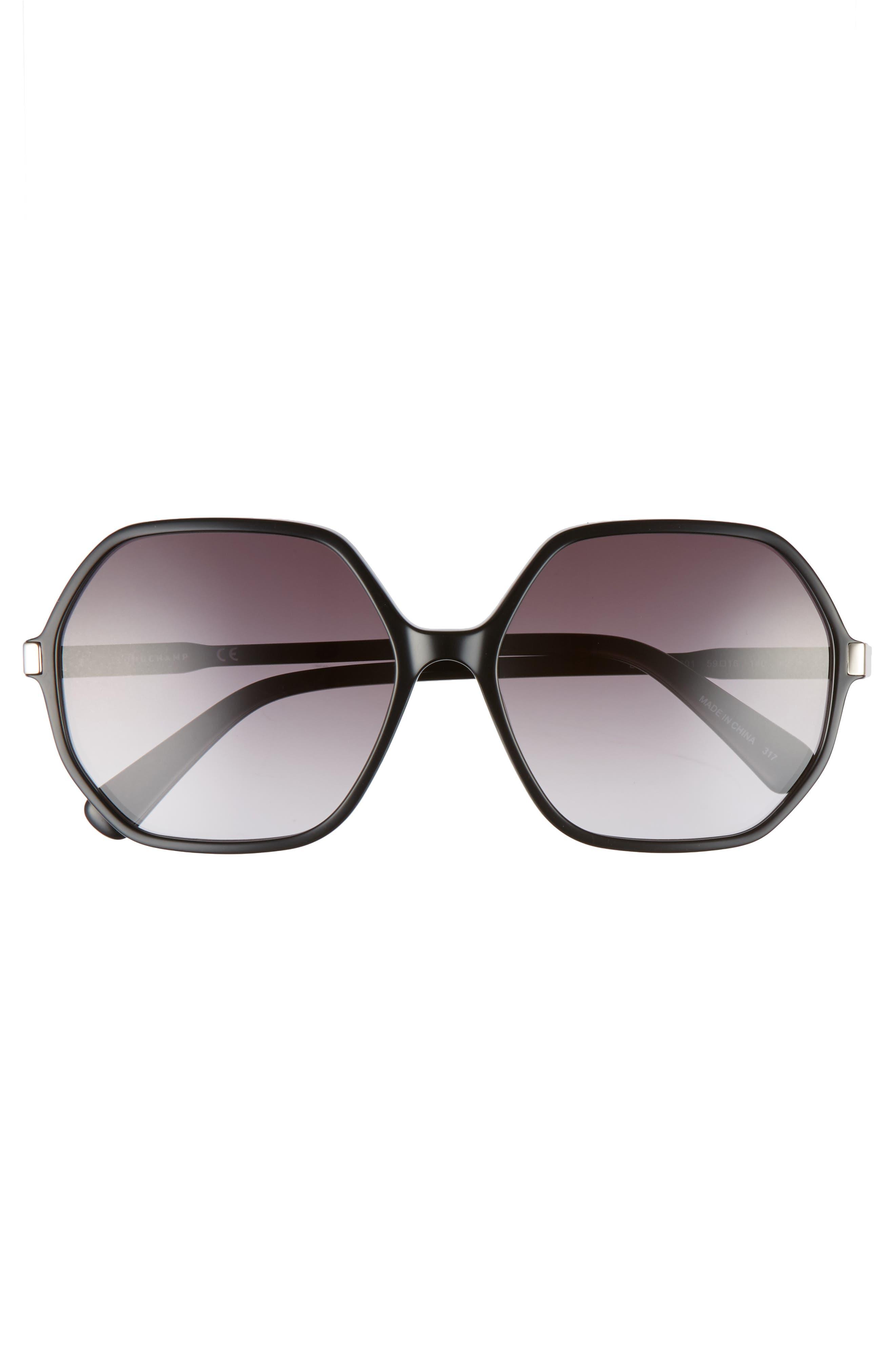 59mm Gradient Lens Hexagonal Sunglasses,                             Alternate thumbnail 3, color,                             BLACK
