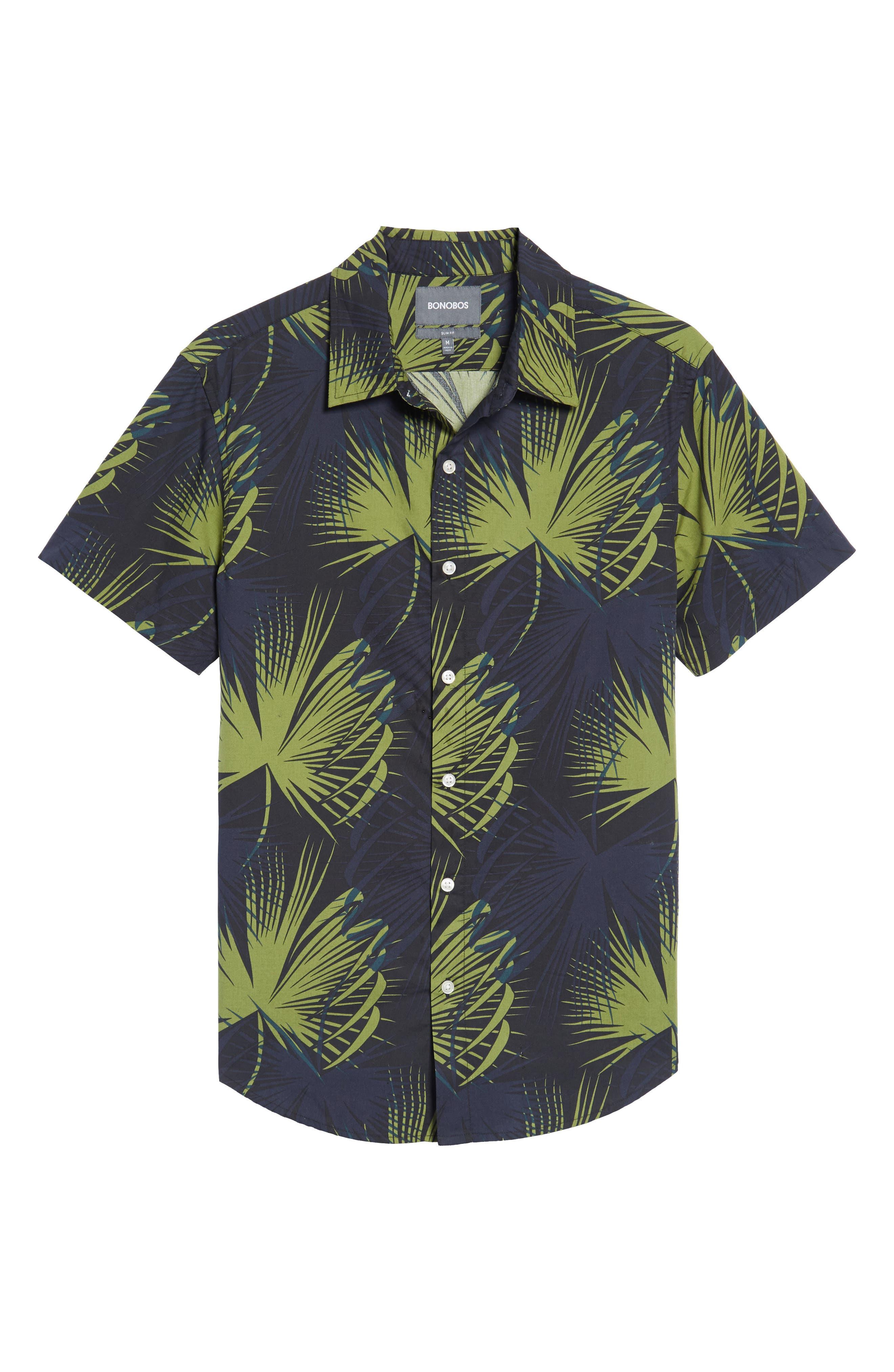 Slim Fit Frond Print Sport Shirt,                             Alternate thumbnail 6, color,                             400
