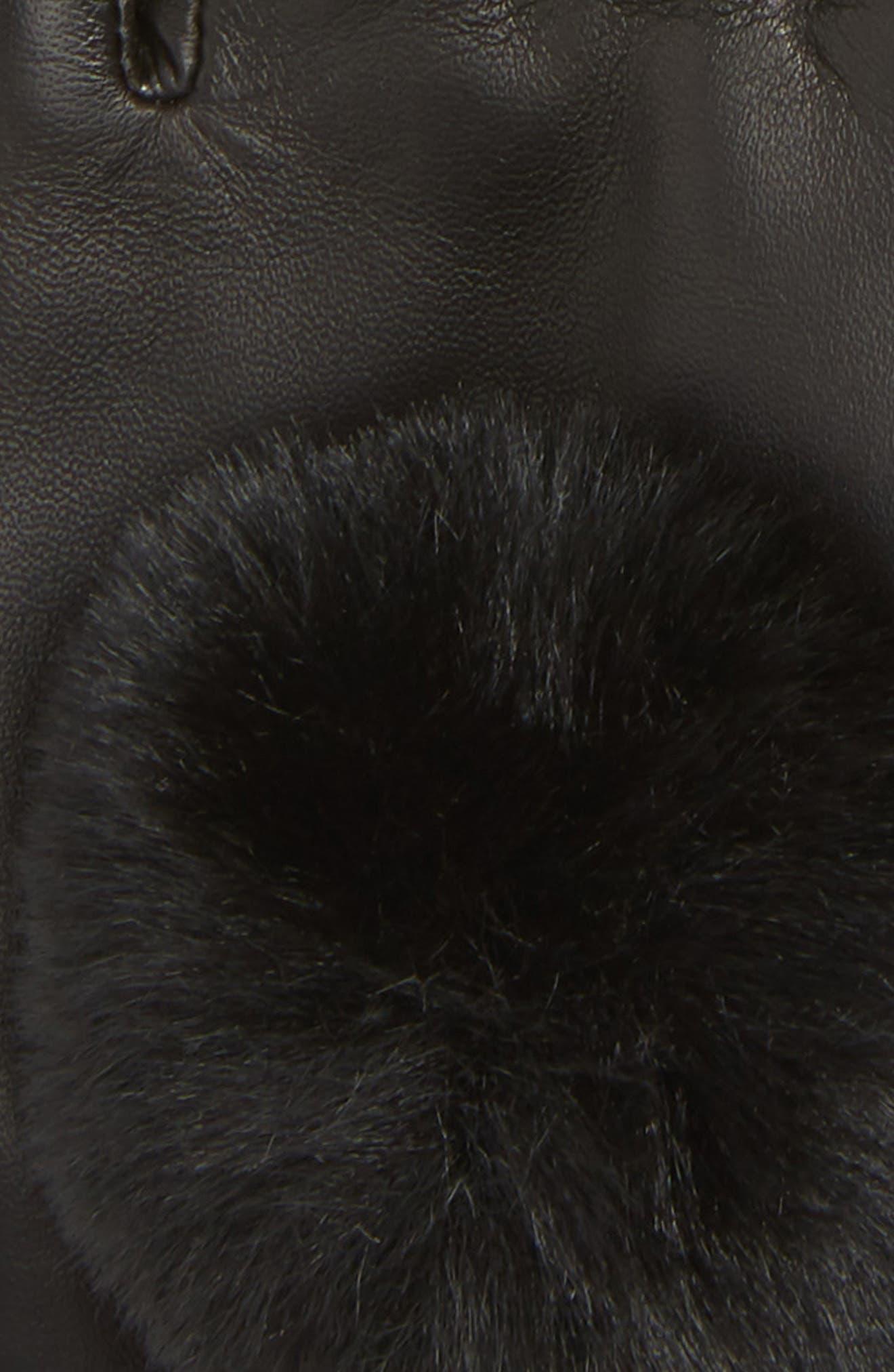 Faux Fur Pompom Lambskin Leather Gloves,                             Alternate thumbnail 2, color,                             BLACK COMBO