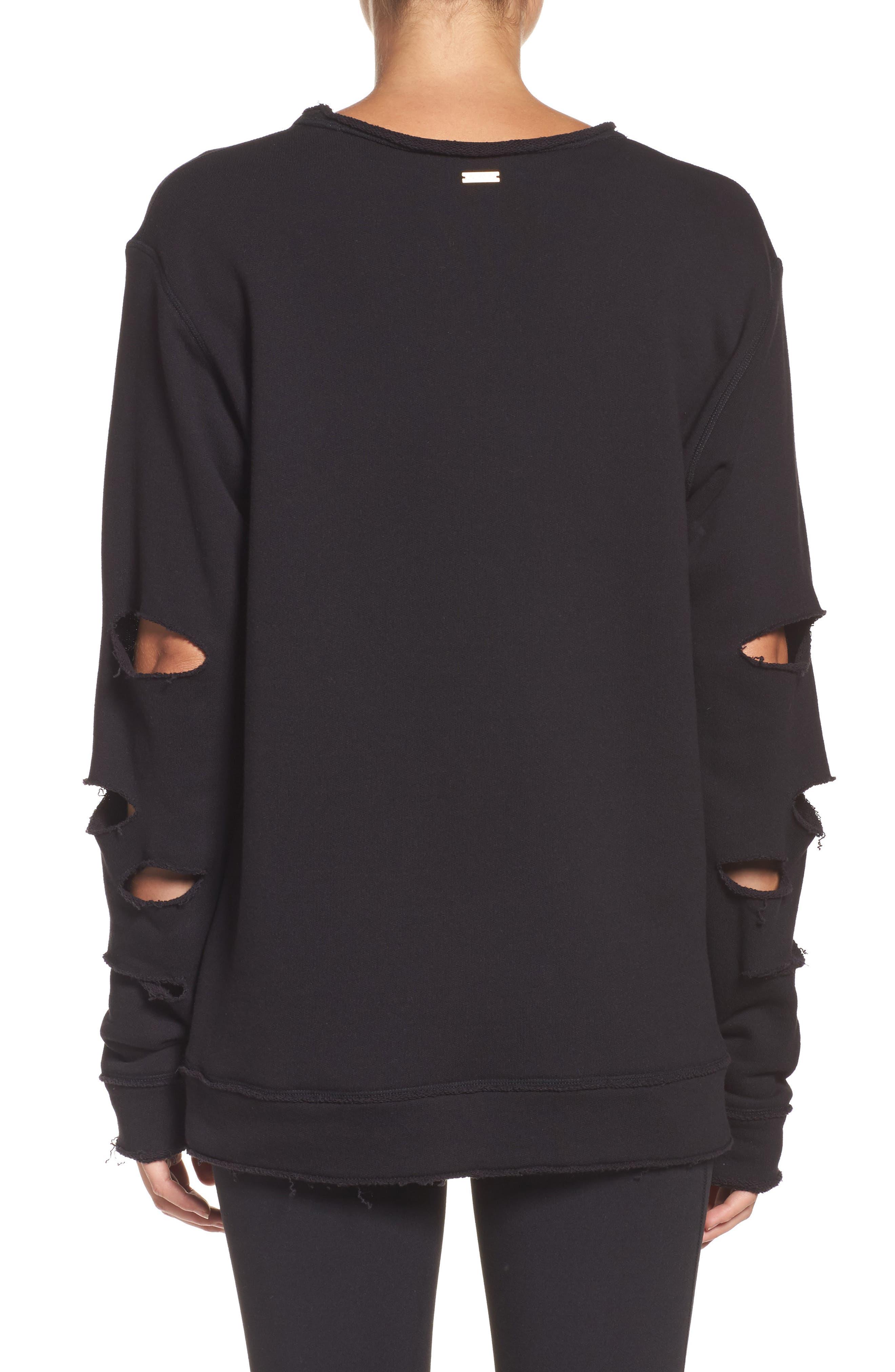 Cypher Destroyed Sweatshirt,                             Alternate thumbnail 2, color,                             BLACK