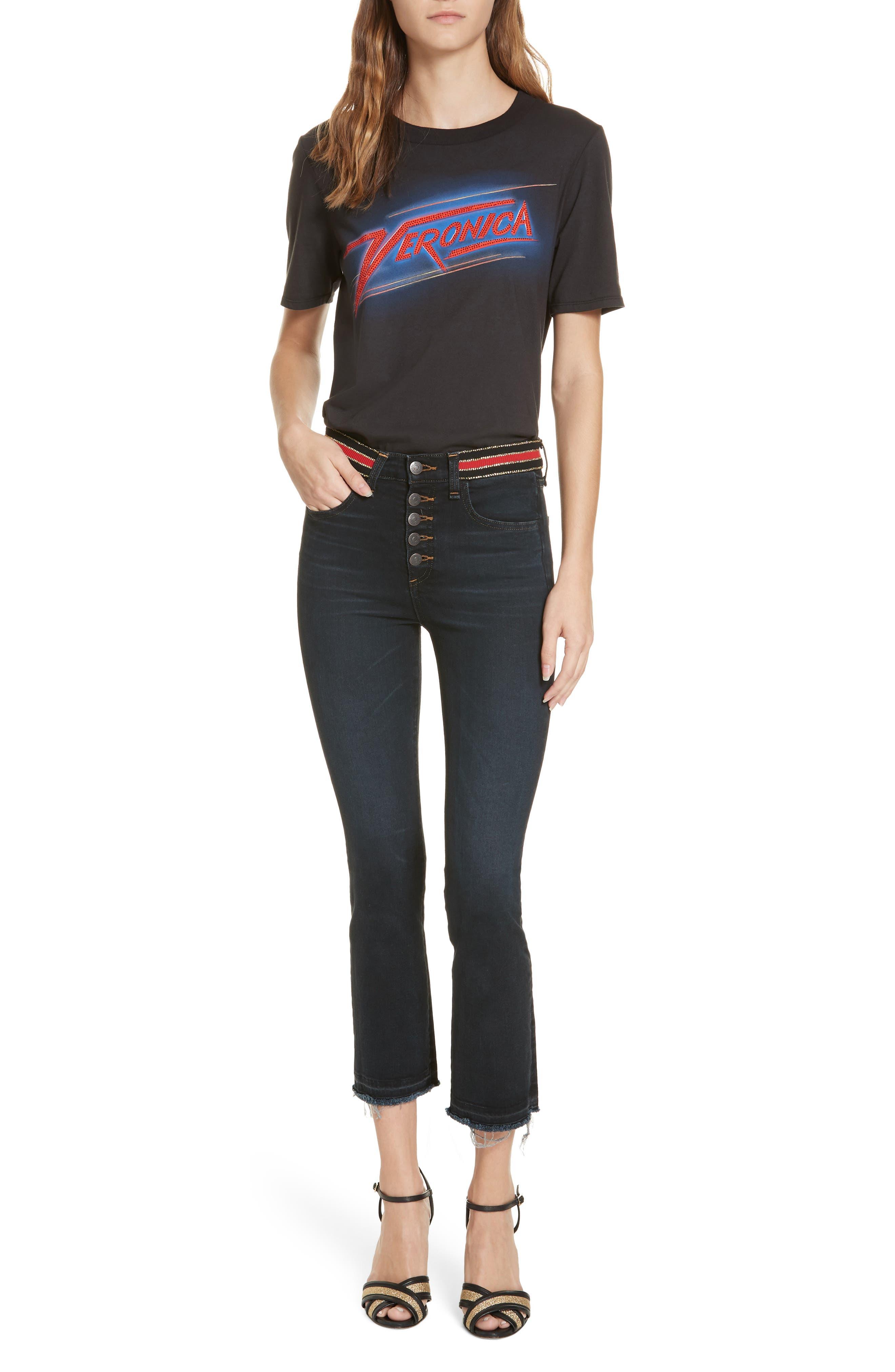 Carolyn Stripe Waist Crop Flare Jeans,                             Alternate thumbnail 7, color,                             DARK SLATE