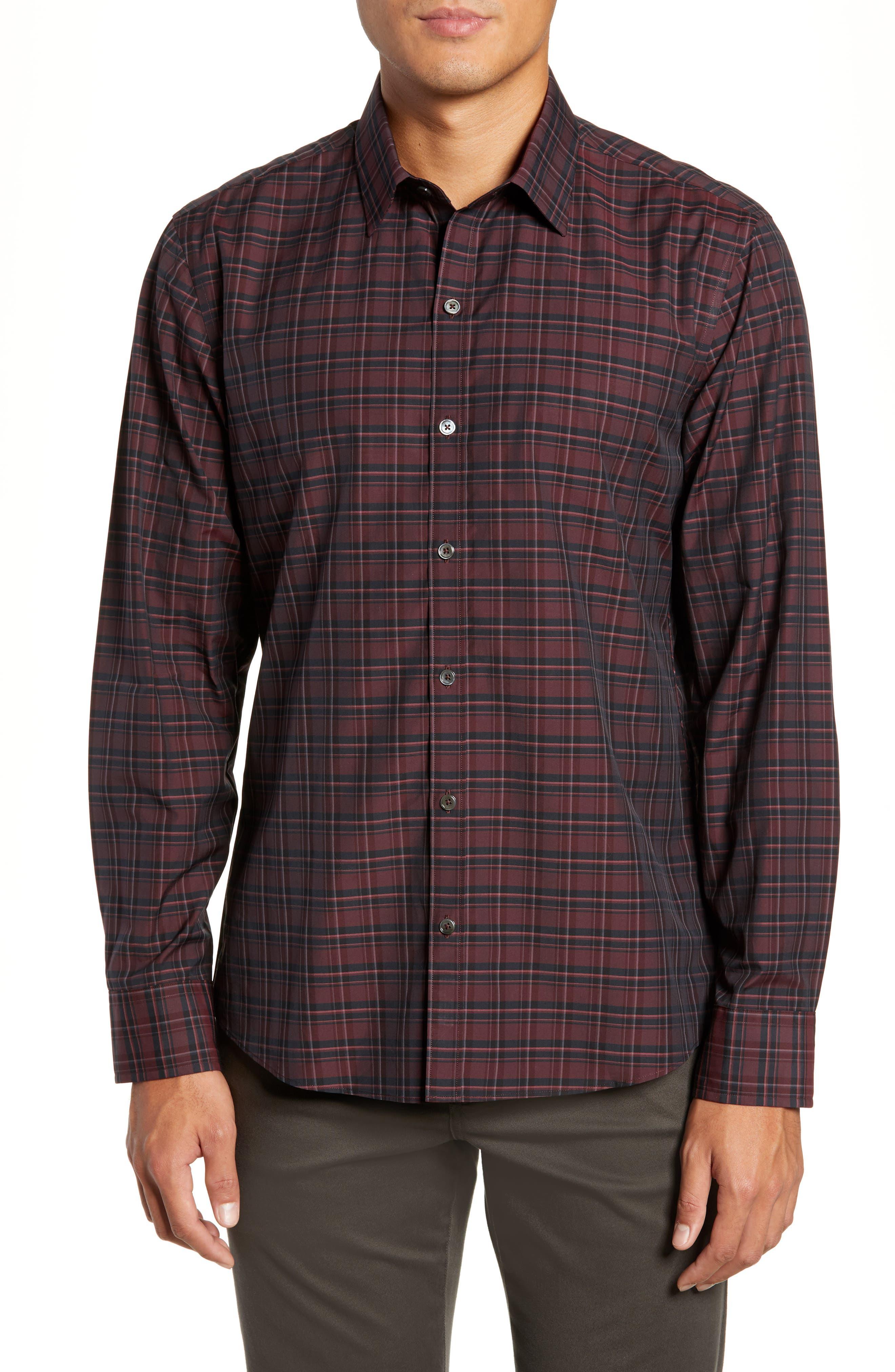 Sunny Regular Fit Sport Shirt,                             Main thumbnail 1, color,                             RUBY
