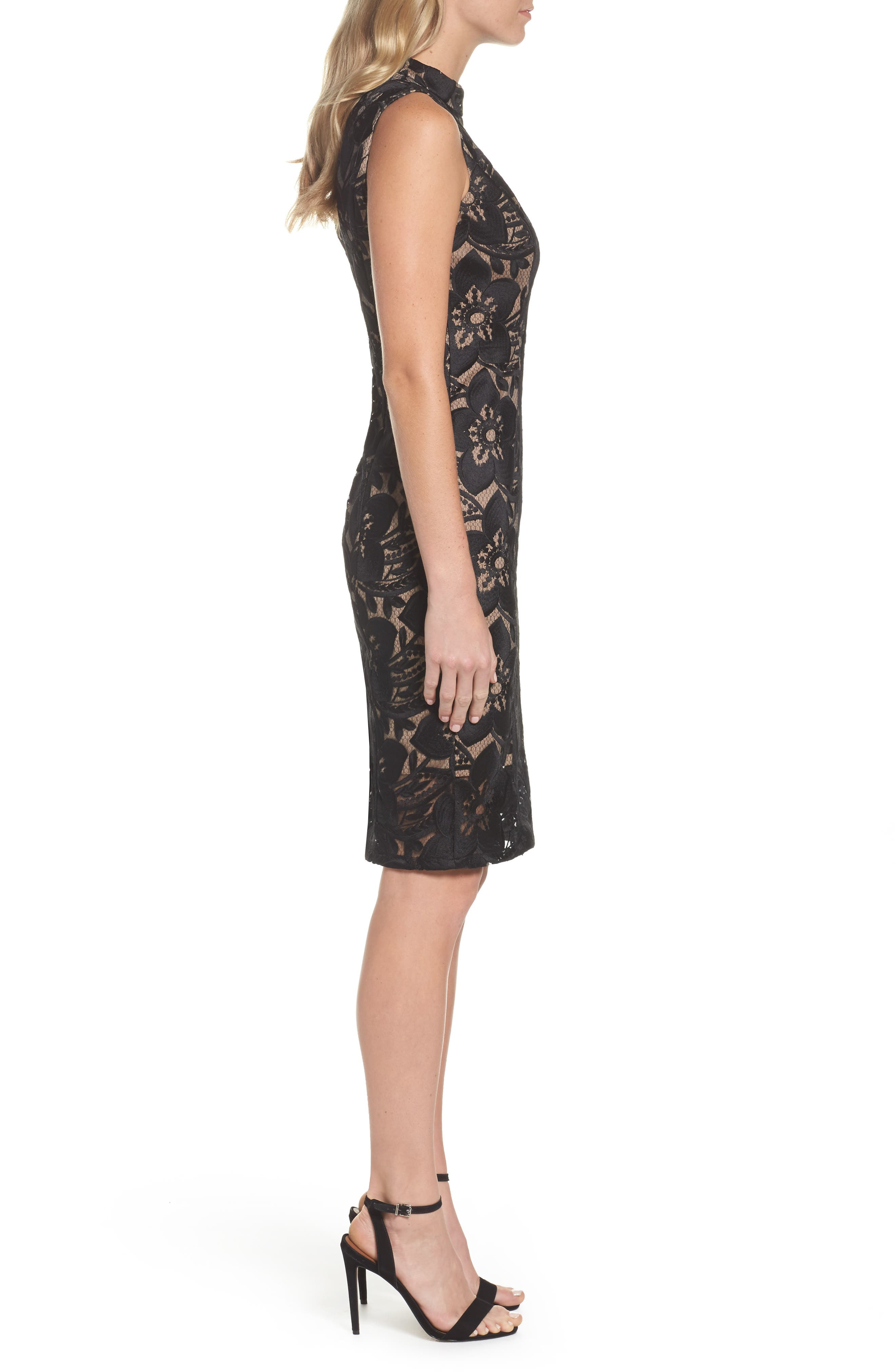 ADRIANNA PAPELL,                             Lace Sheath Dress,                             Alternate thumbnail 3, color,                             002