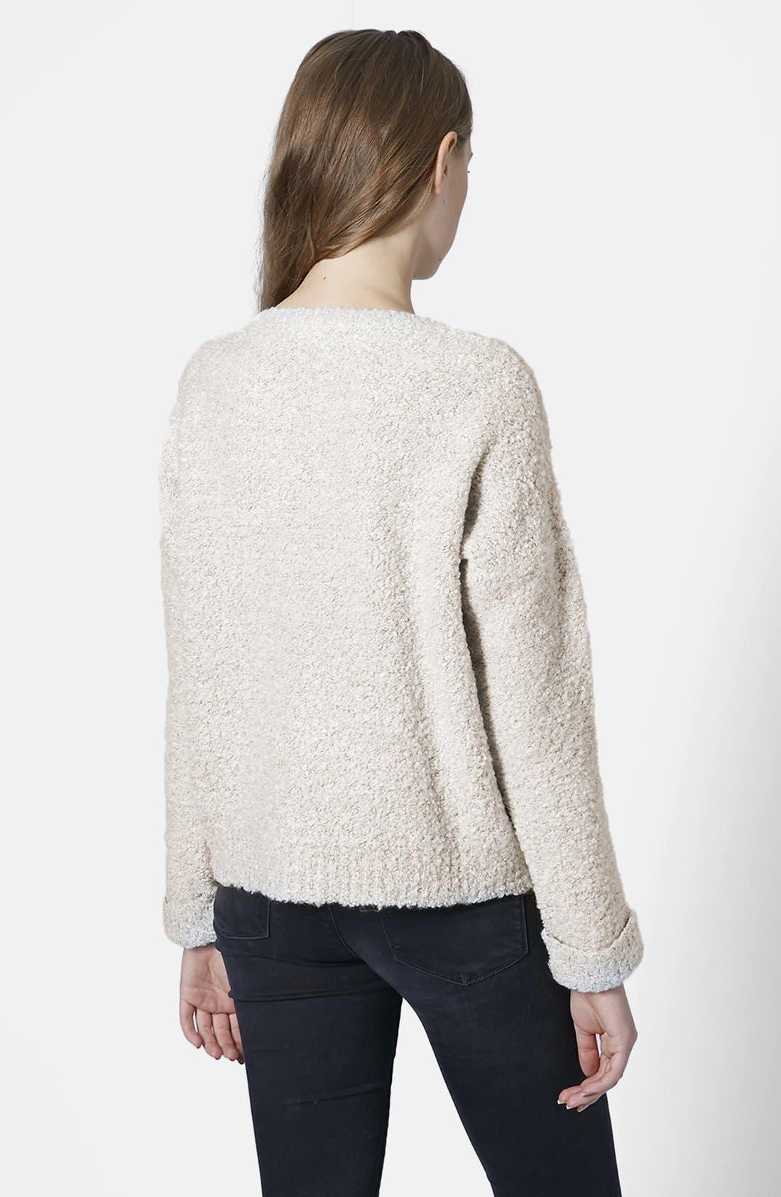 TOPSHOP,                             Bouclé Knit Sweater,                             Alternate thumbnail 3, color,                             100