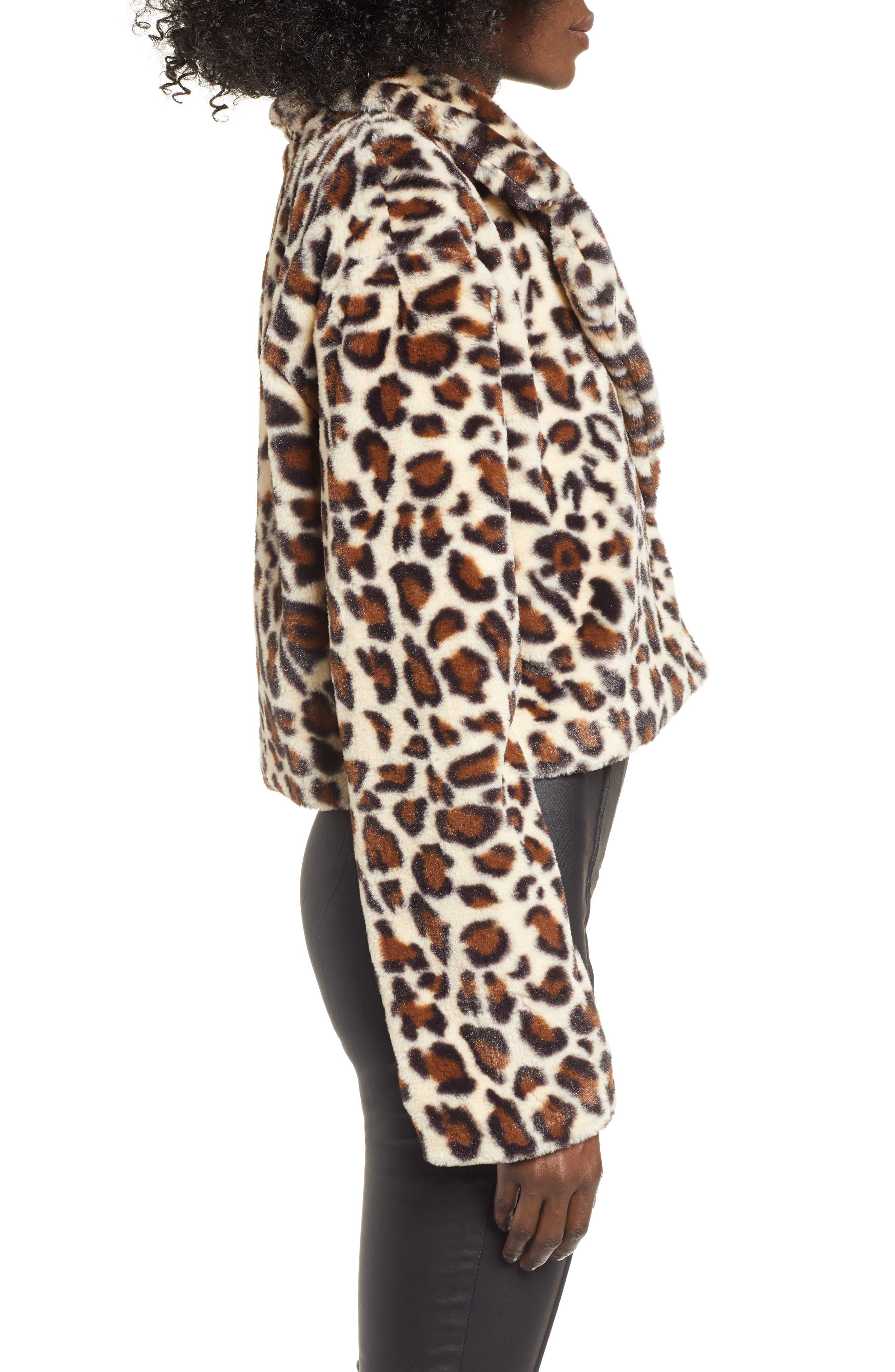 Mimi Faux Fur Jacket,                             Alternate thumbnail 3, color,                             LEOPARD