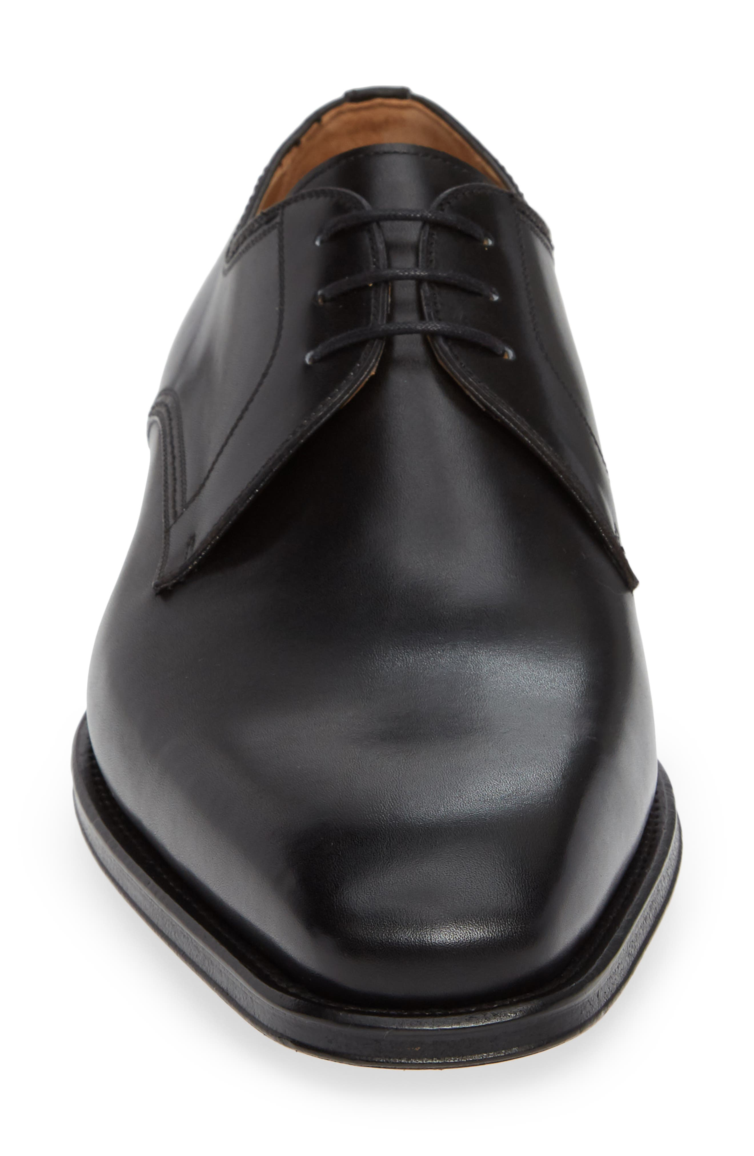 Layton Plain Toe Derby,                             Alternate thumbnail 4, color,                             BLACK LEATHER