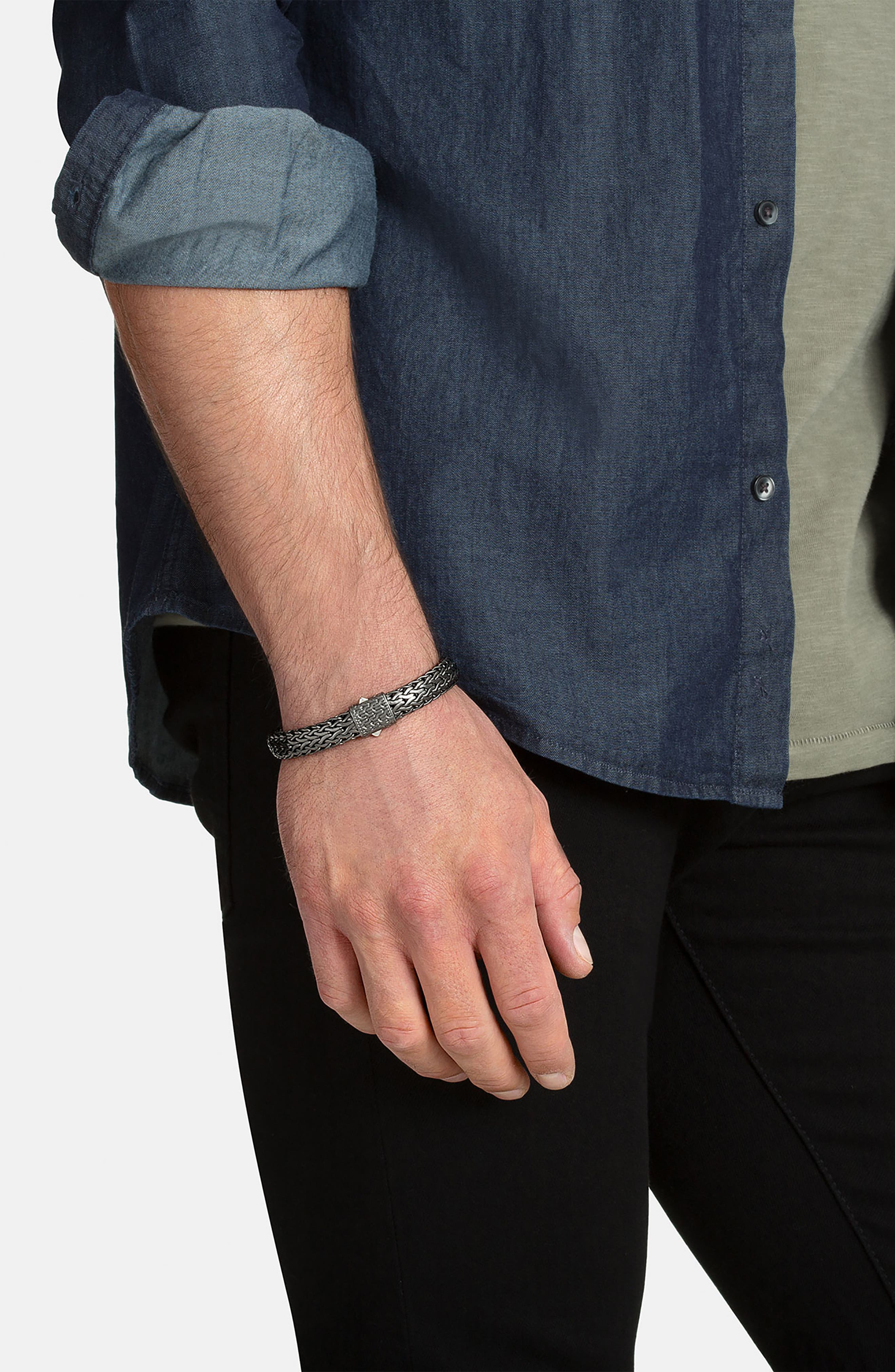 Classic Chain Black Rhodium Plate Bracelet,                             Alternate thumbnail 2, color,                             001