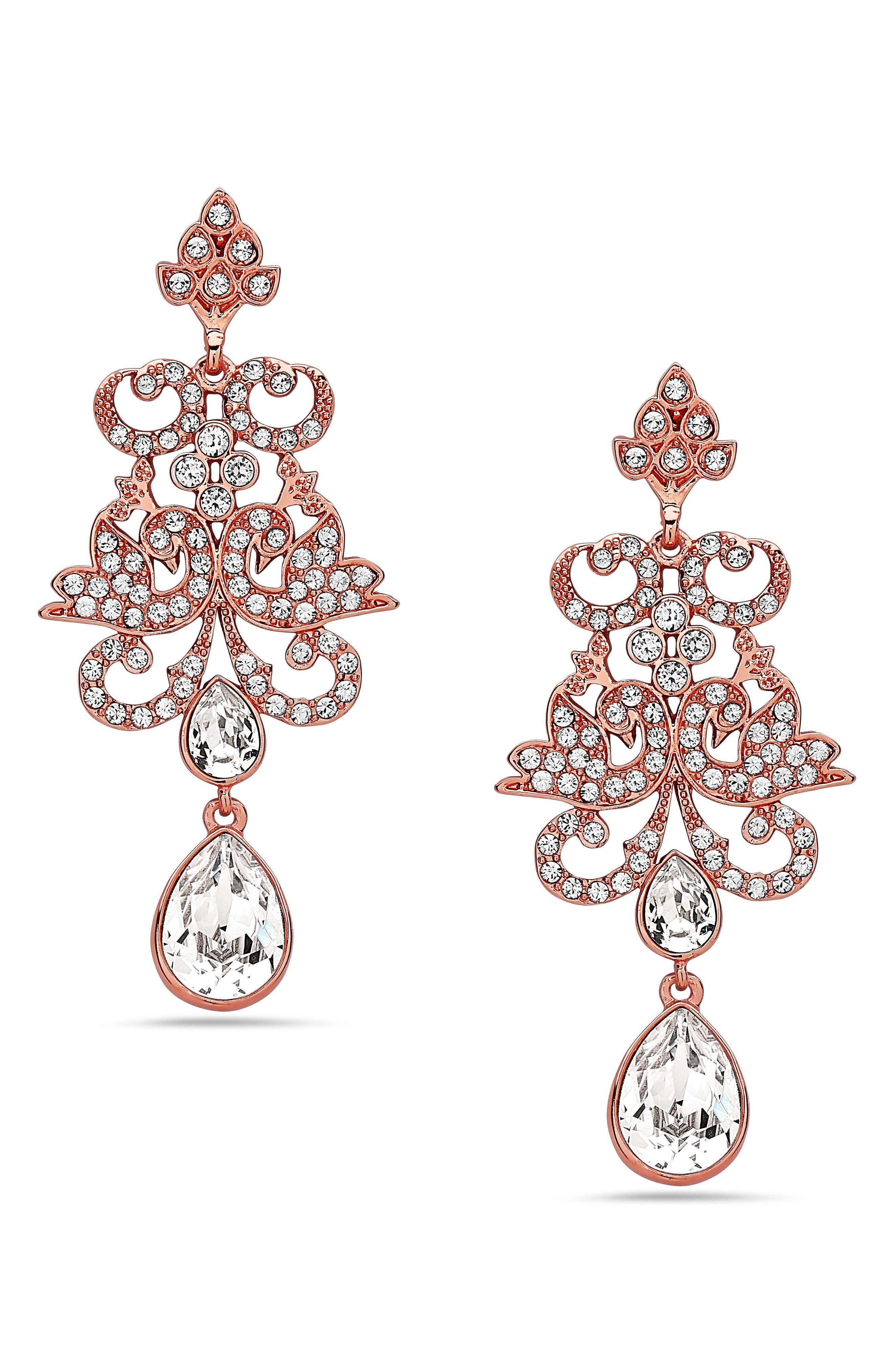 Swarovski Crystal Pear Drop Earrings,                             Main thumbnail 1, color,                             694