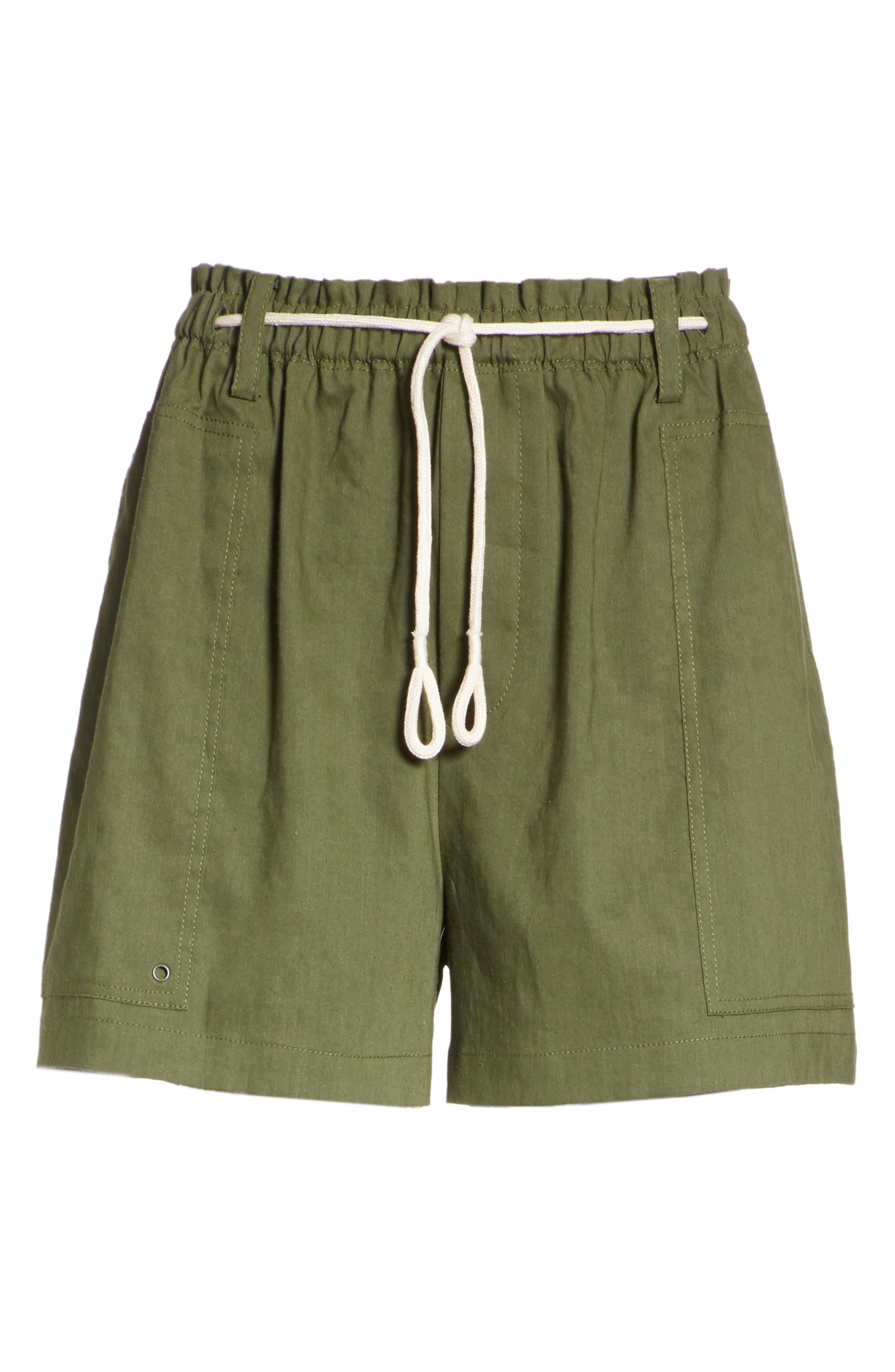 Rope Tie Linen Blend Shorts,                             Alternate thumbnail 18, color,