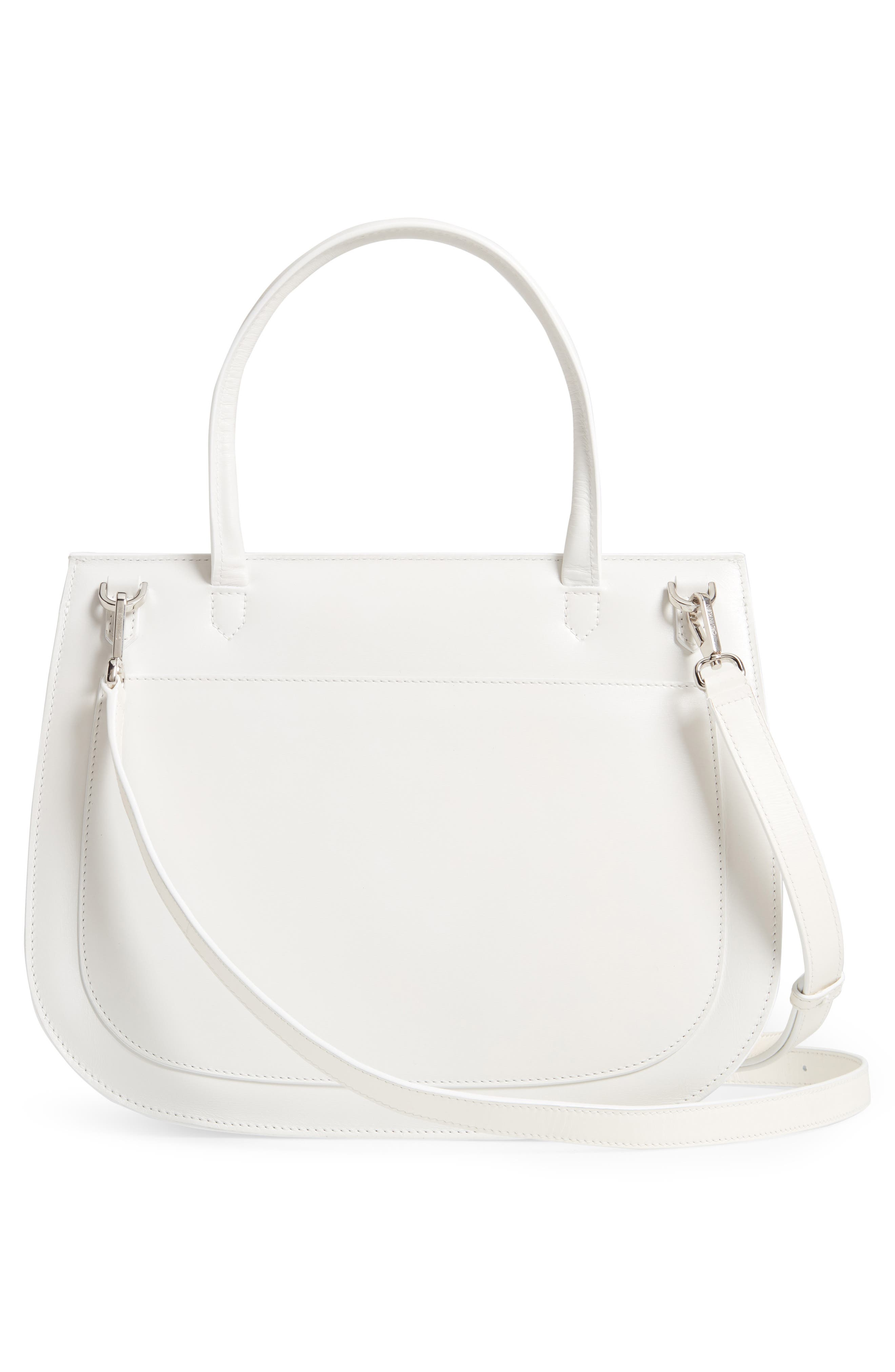 Top Handle Round Lock Shoulder Bag,                             Alternate thumbnail 3, color,                             WHITE