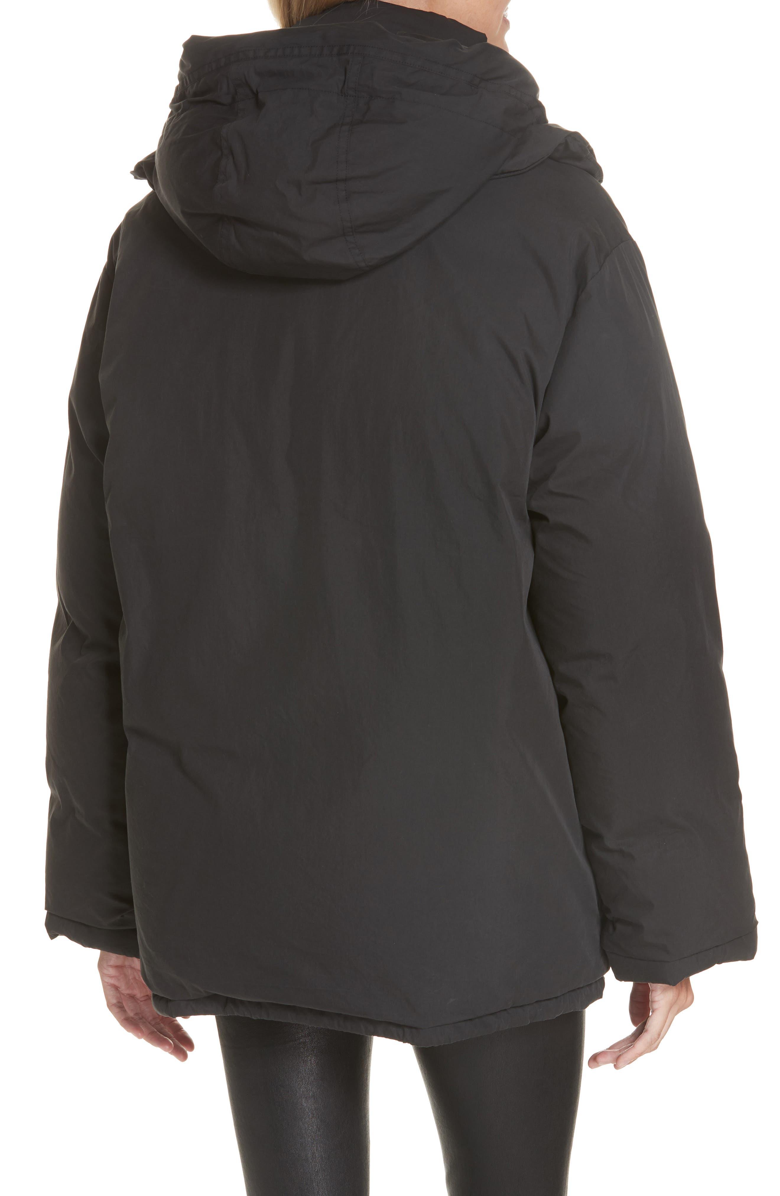 Removable Hood Puffer Jacket,                             Alternate thumbnail 3, color,                             BLACK