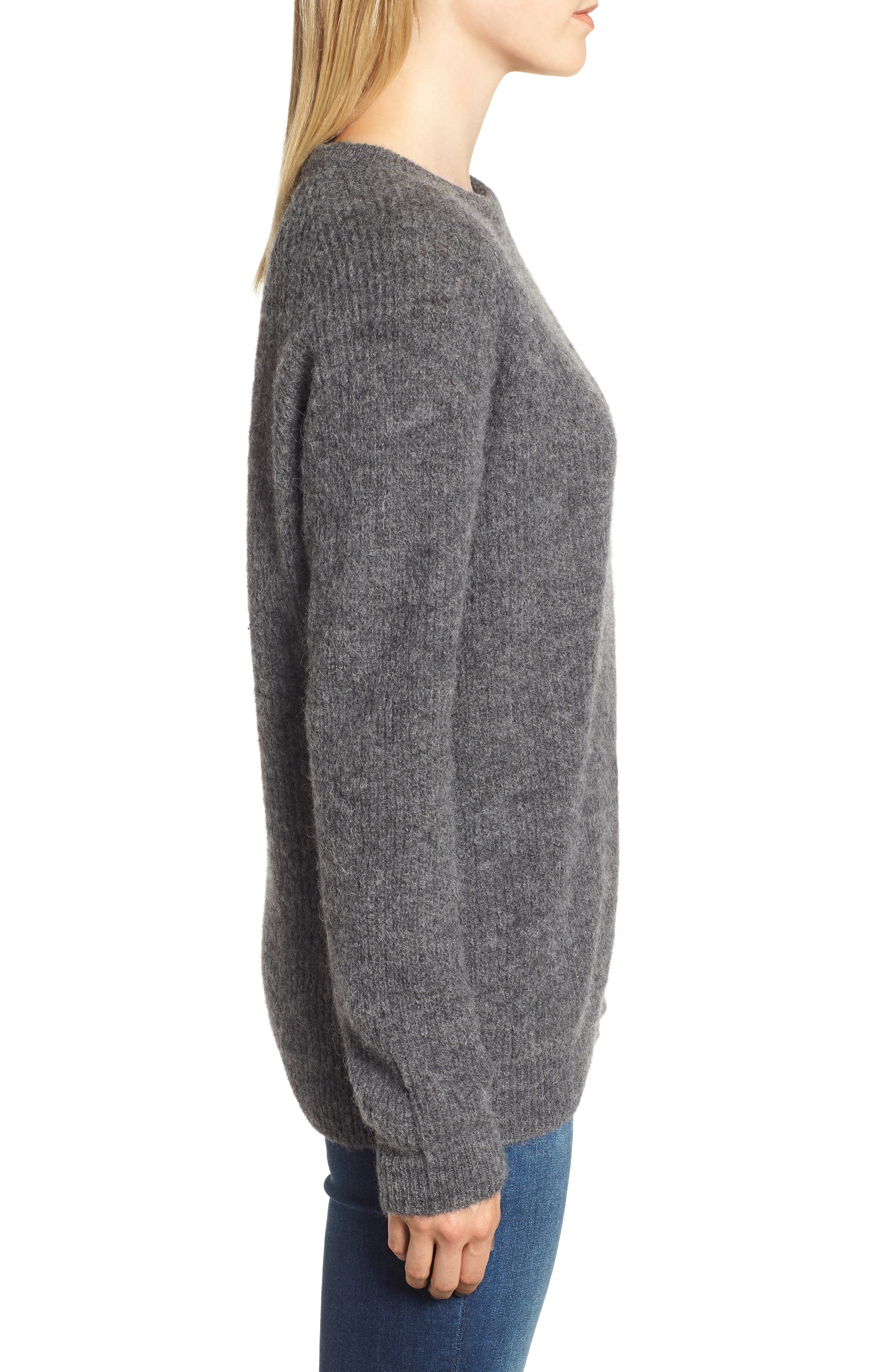 Olivia Crewneck Sweater,                             Alternate thumbnail 3, color,                             DARK GREY MARL