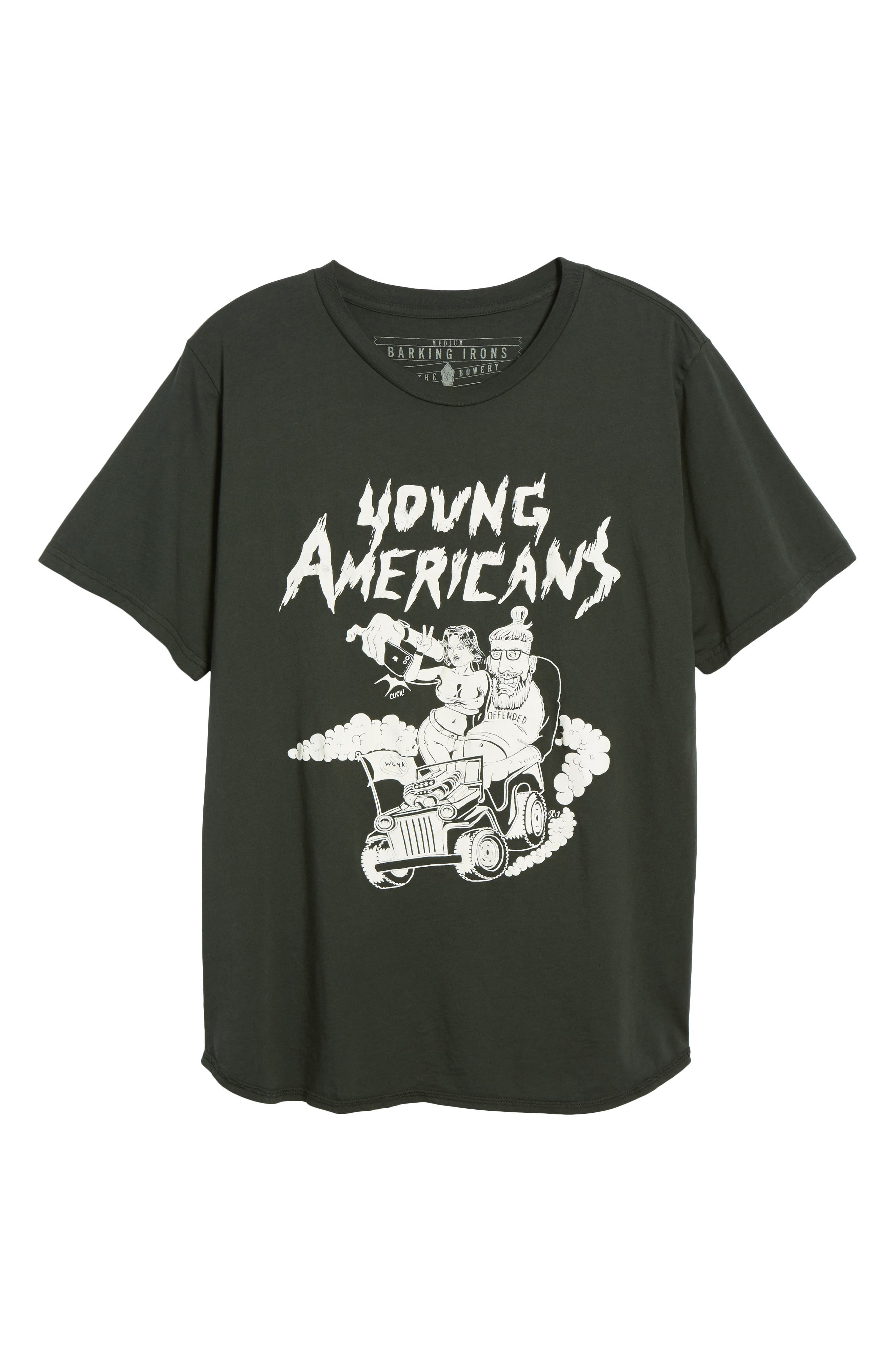 Young Americans Graphic T-Shirt,                             Alternate thumbnail 6, color,                             DUSTY BLACK