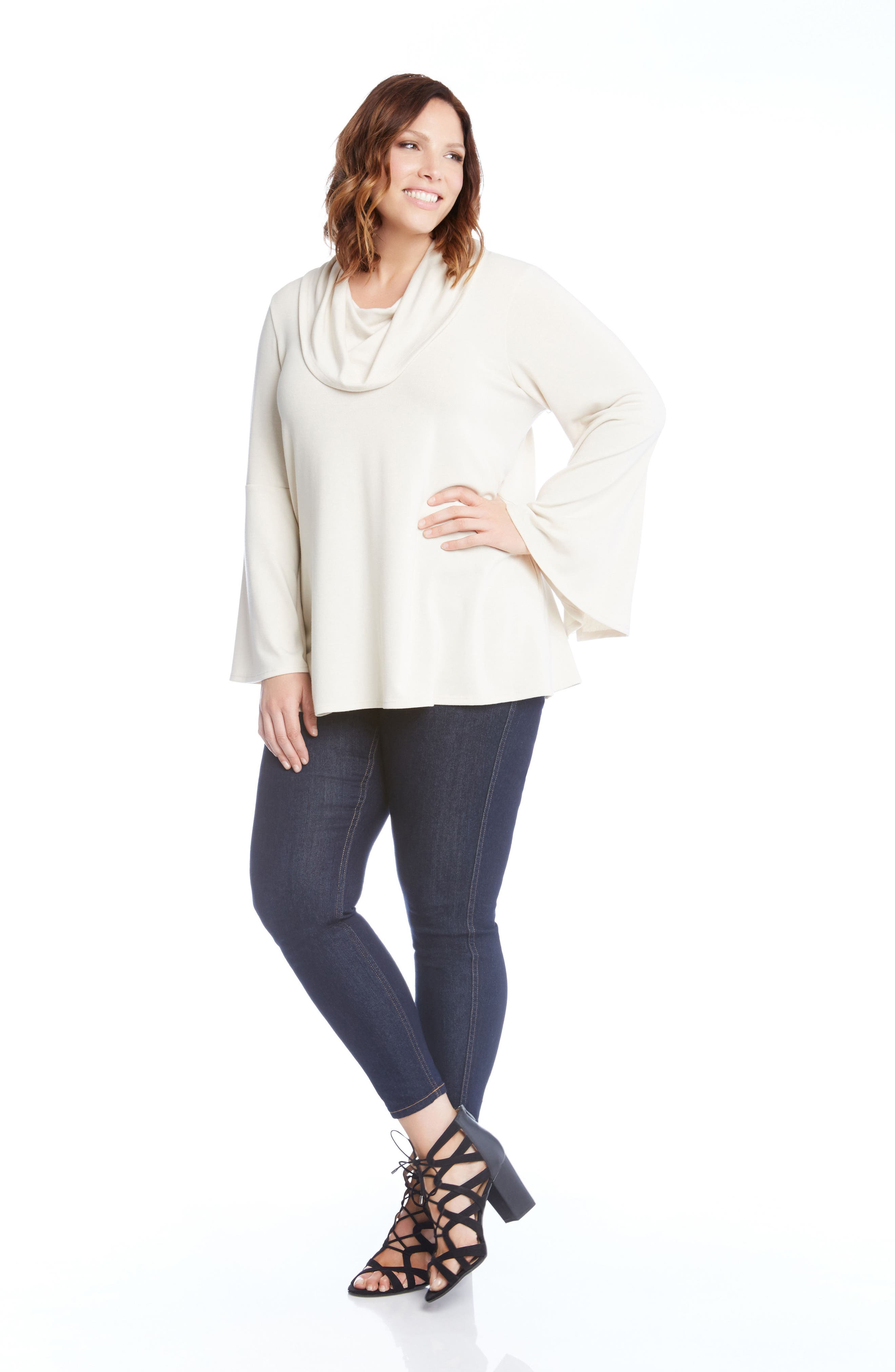 Flare Sleeve Cowl Neck Sweater,                             Alternate thumbnail 7, color,