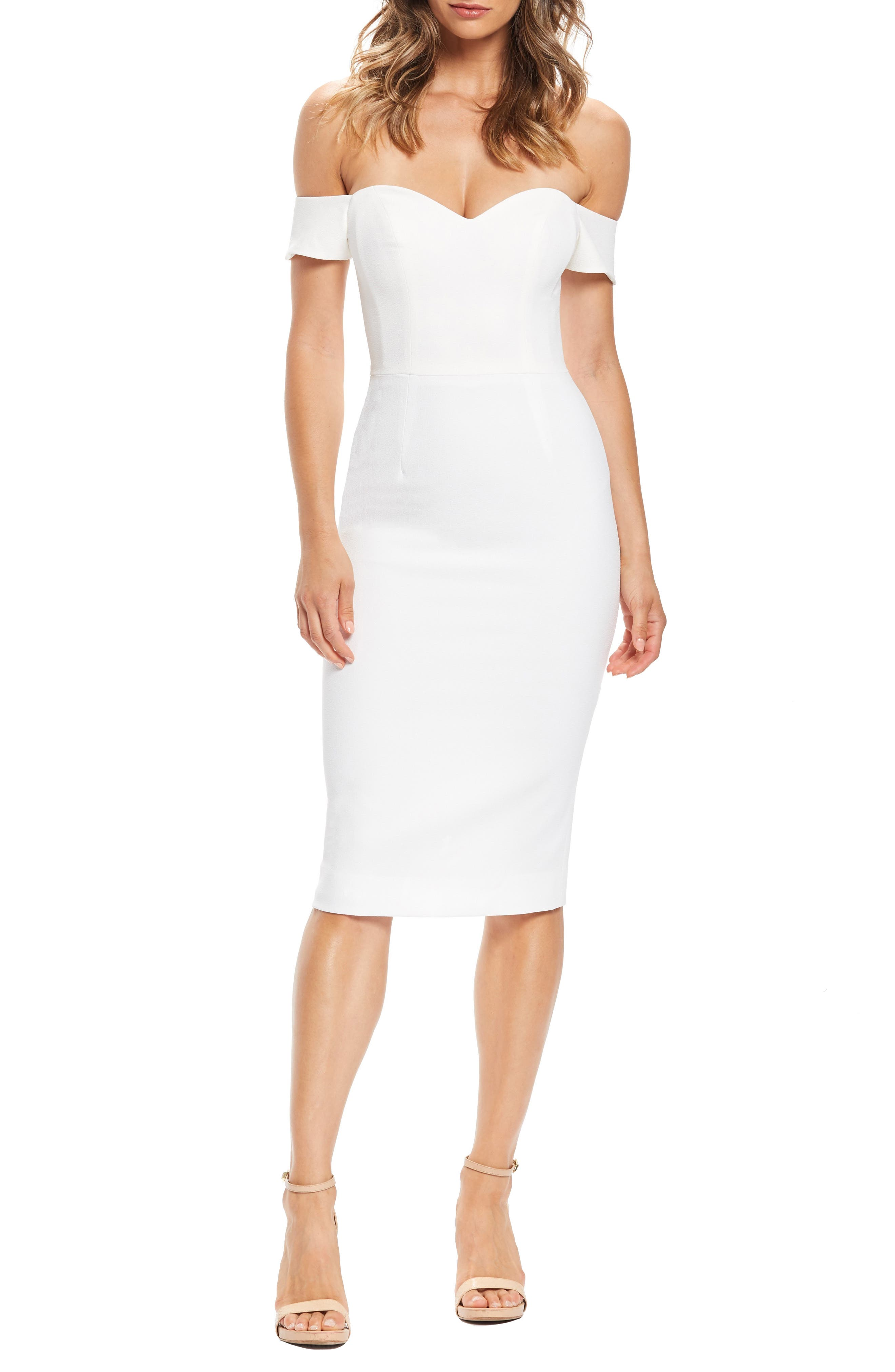 Dress The Population Bailey Off The Shoulder Body-Con Dress, Ivory