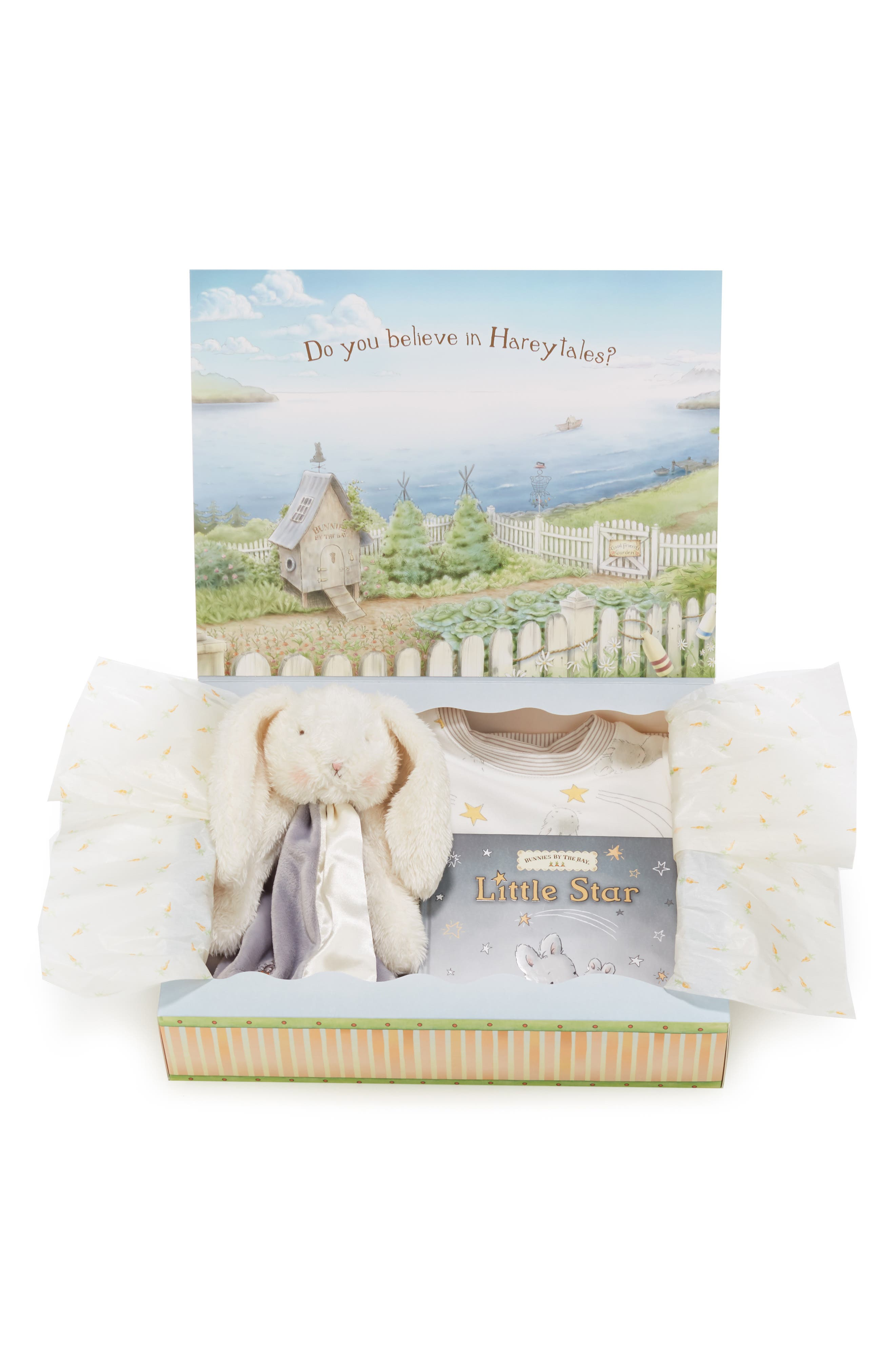 BUNNIES BY THE BAY,                             Twinkle Sleepy Baby Fitted Pajamas, Animal Buddy Blanket & Board Book Set,                             Main thumbnail 1, color,                             GREY