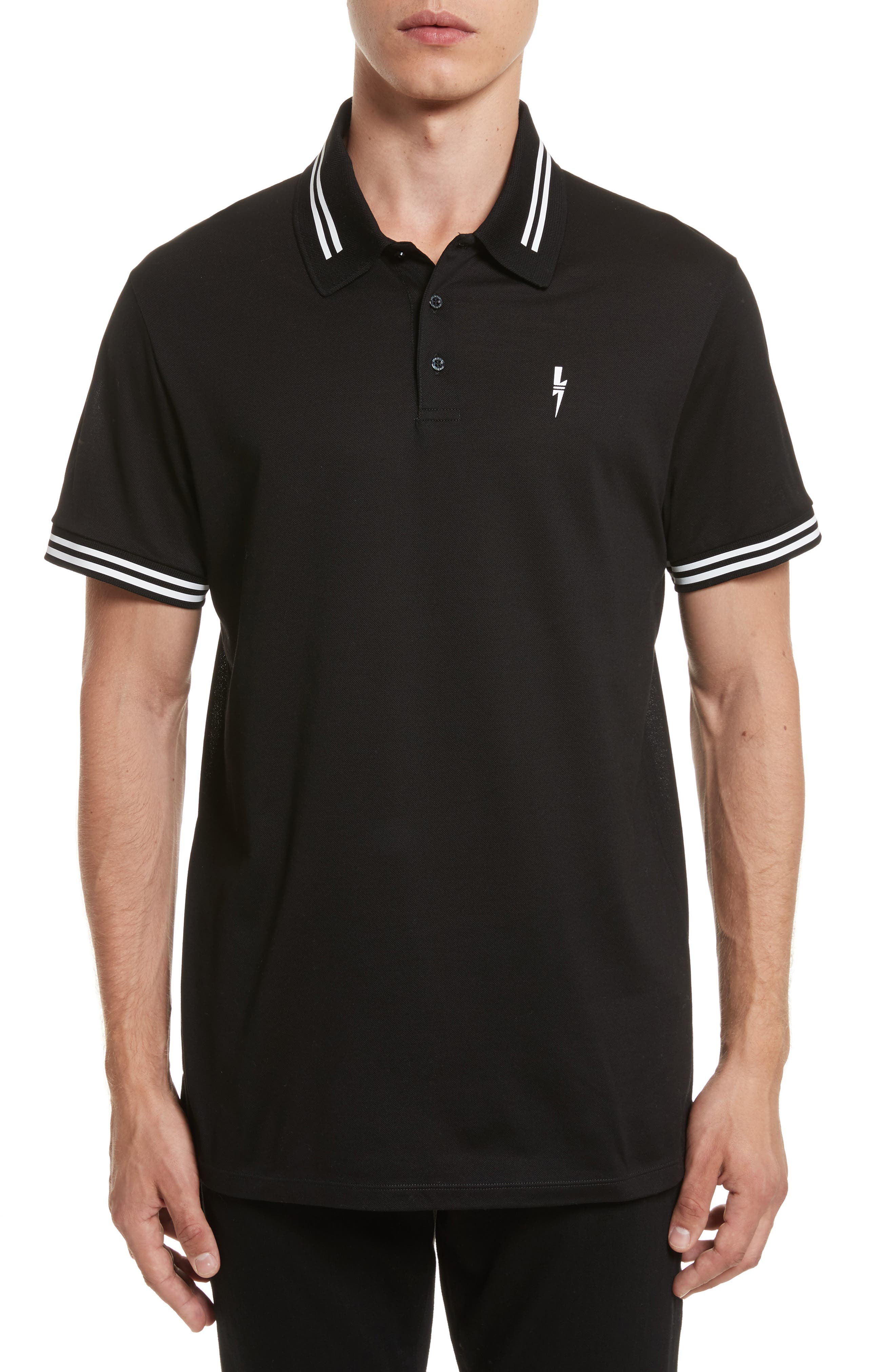 Stripe Tipped Polo,                             Main thumbnail 1, color,                             001