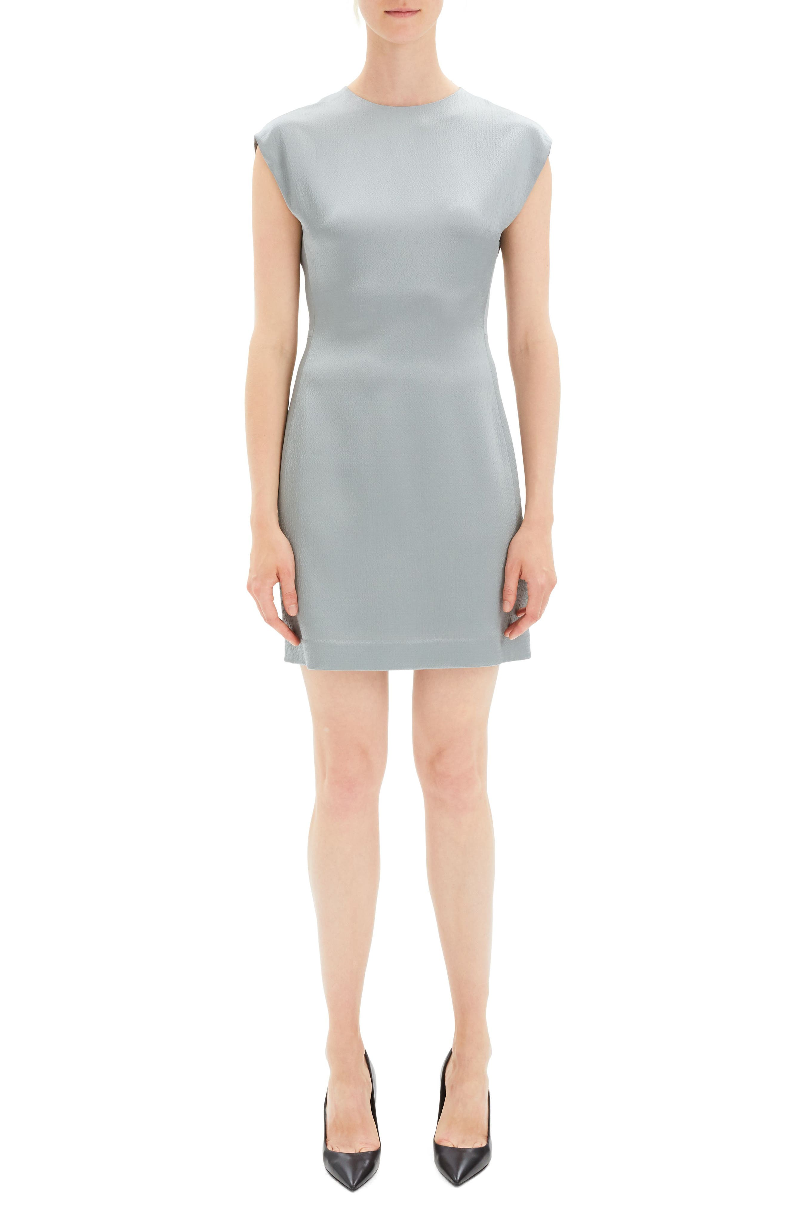 Theory Structured Fitted Dress, Metallic
