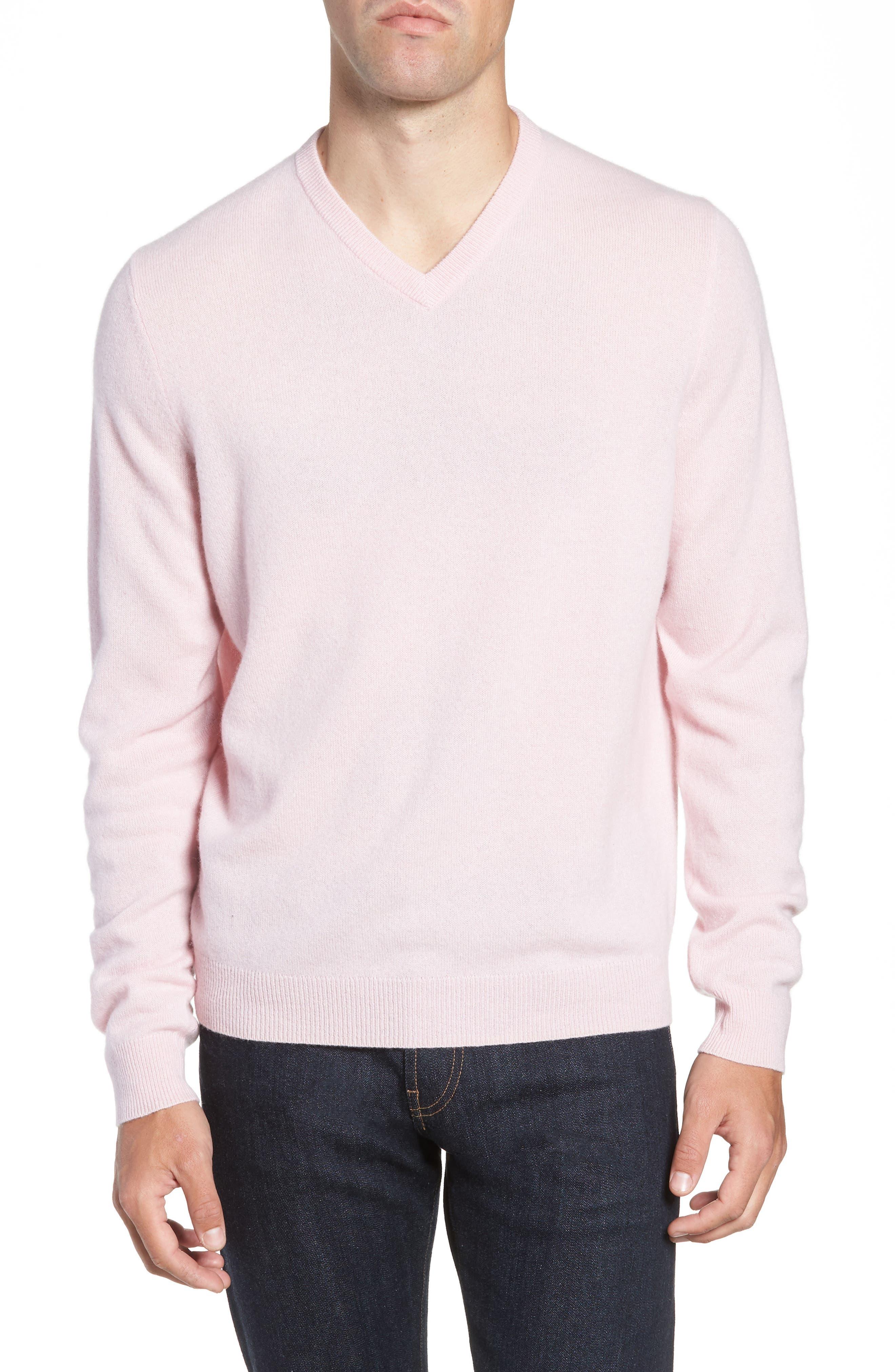 Nordstrom Shop Cashmere V-Neck Sweater, Pink