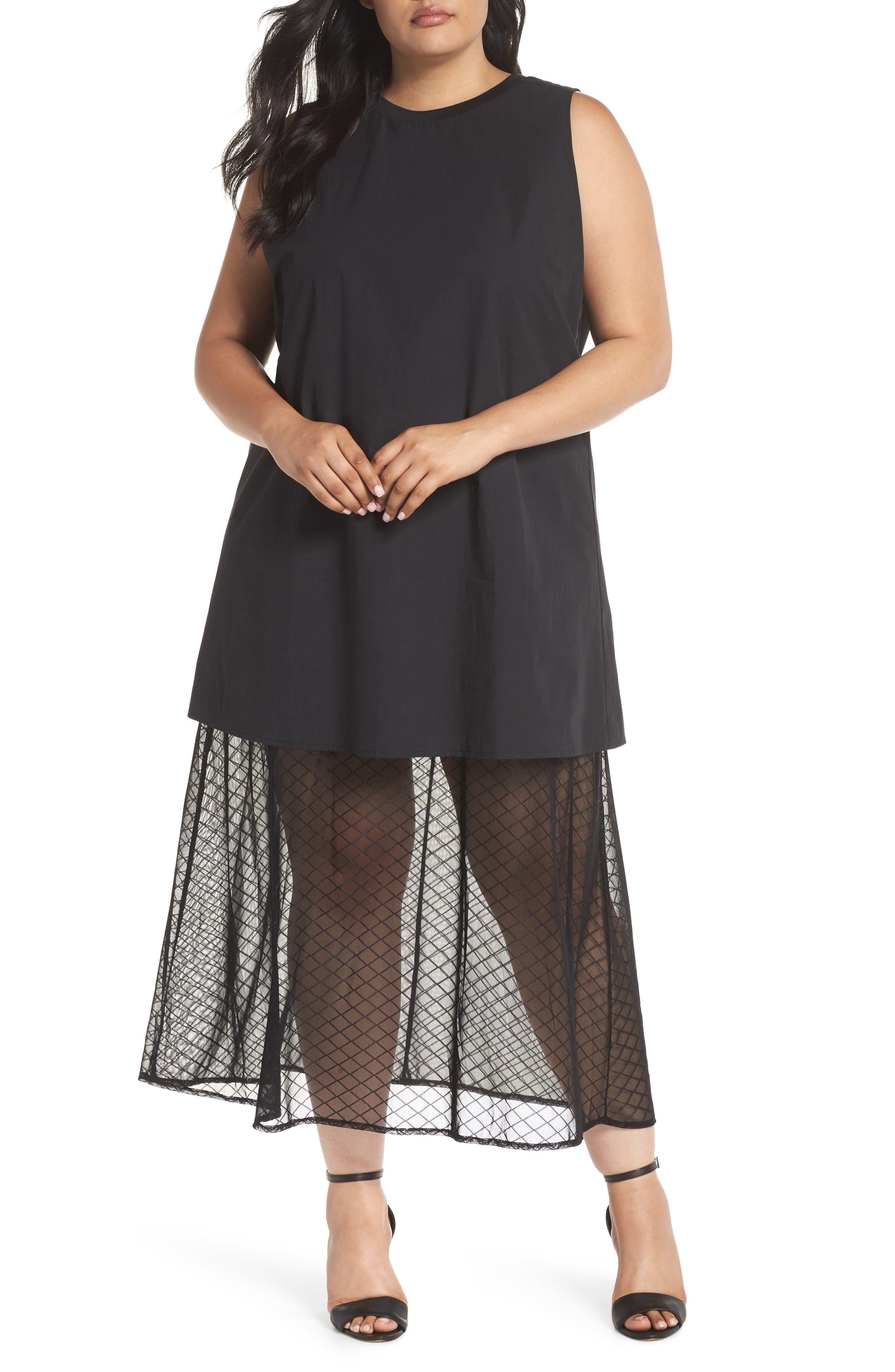 The Agata Sheer Hem Maxi Dress,                         Main,                         color, BLACK