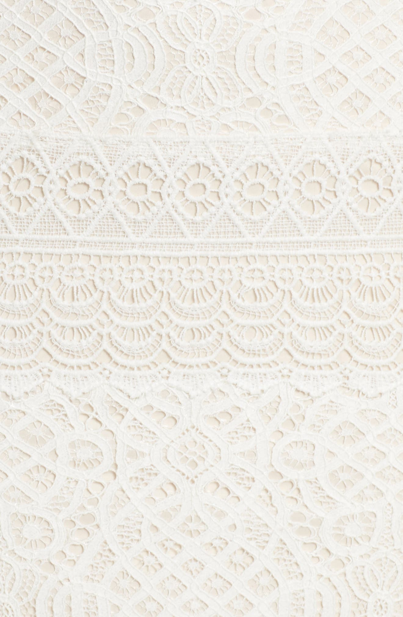 Off the Shoulder Crochet Gown,                             Alternate thumbnail 5, color,                             IVORY/ PRIMROSE