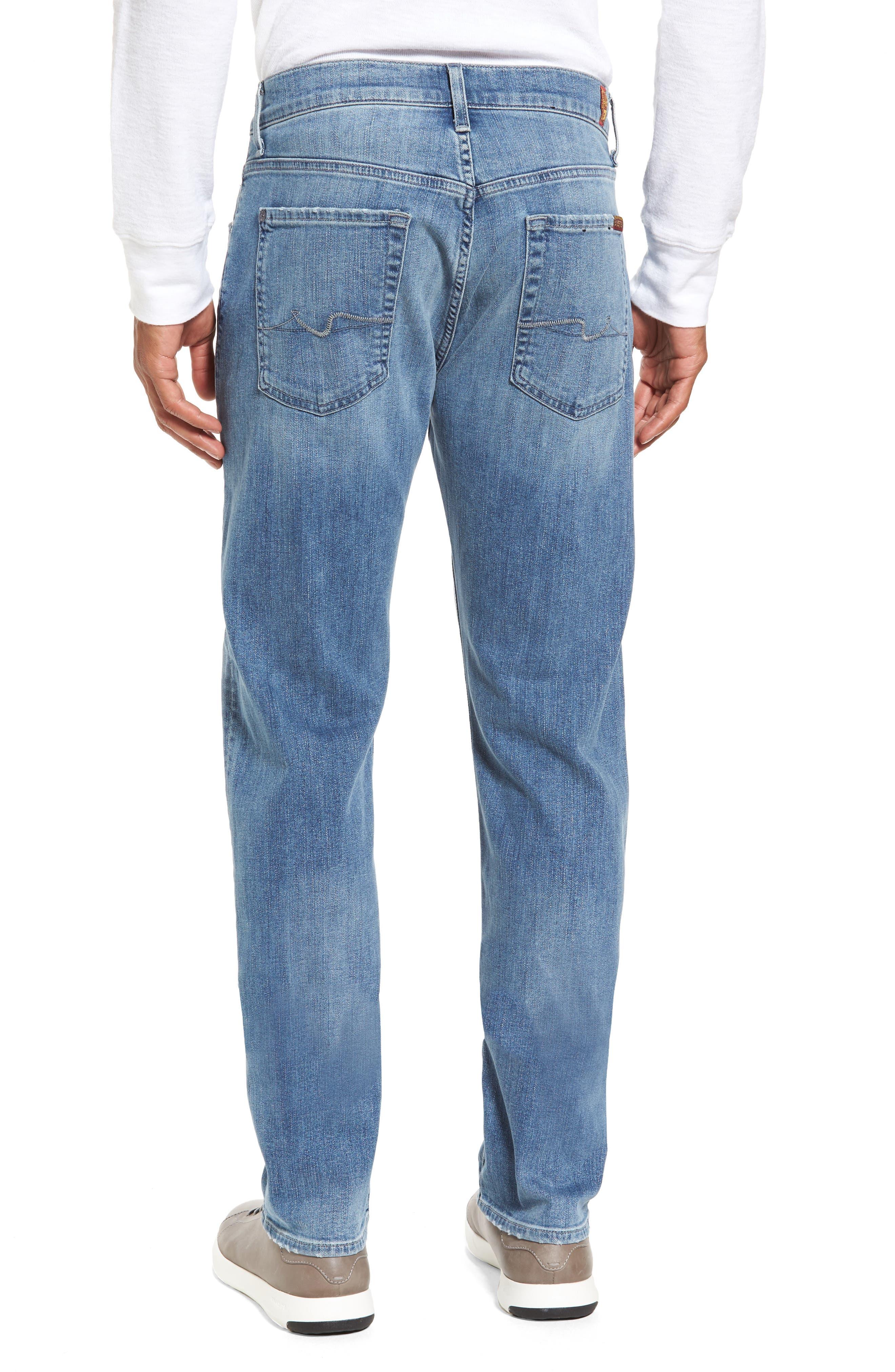 7 For All Mankind Slim Straight Leg Jeans,                             Alternate thumbnail 2, color,                             400
