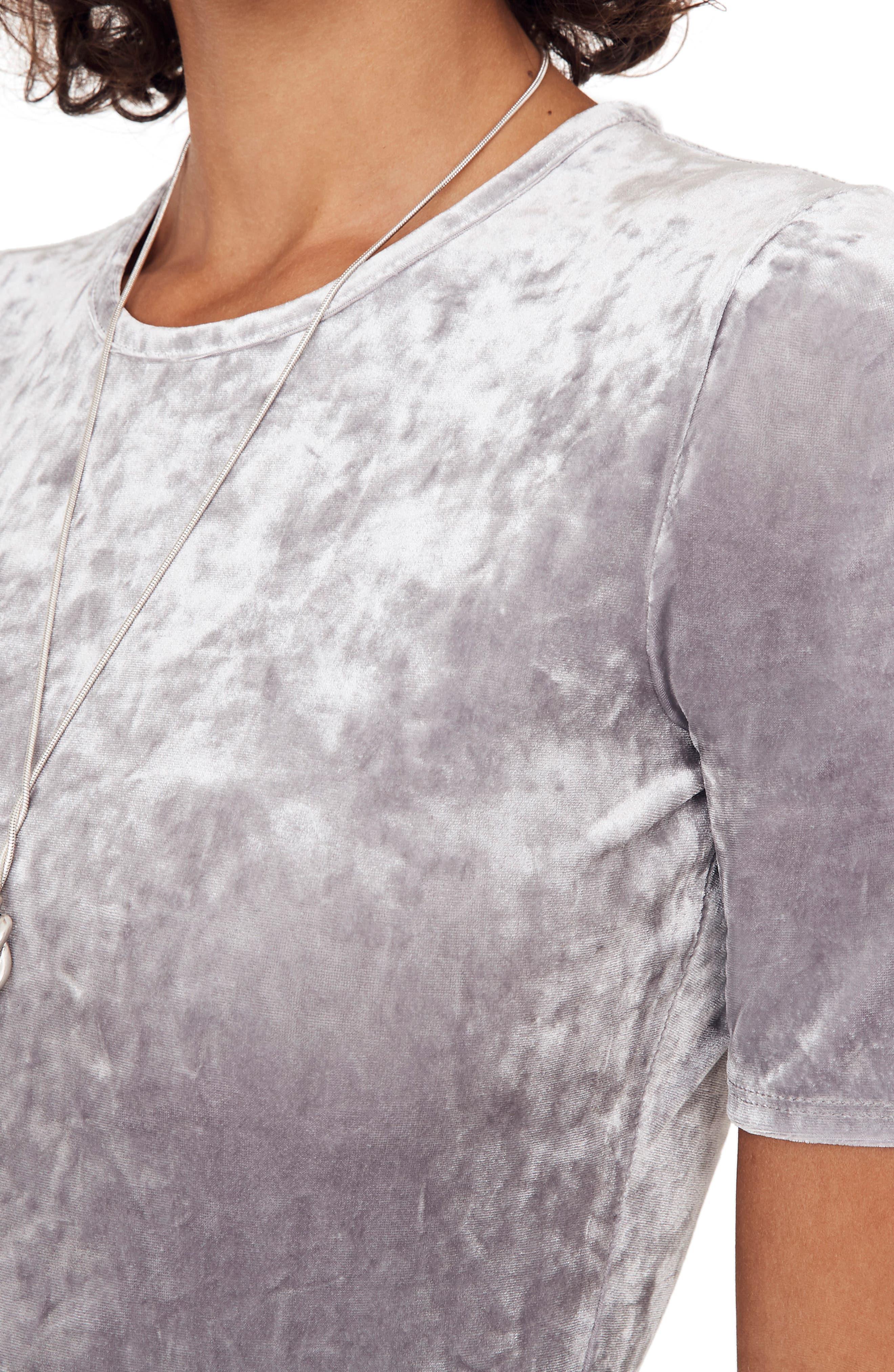 Crushed Velvet Short Sleeve Bodysuit,                             Alternate thumbnail 2, color,                             STONEWALL