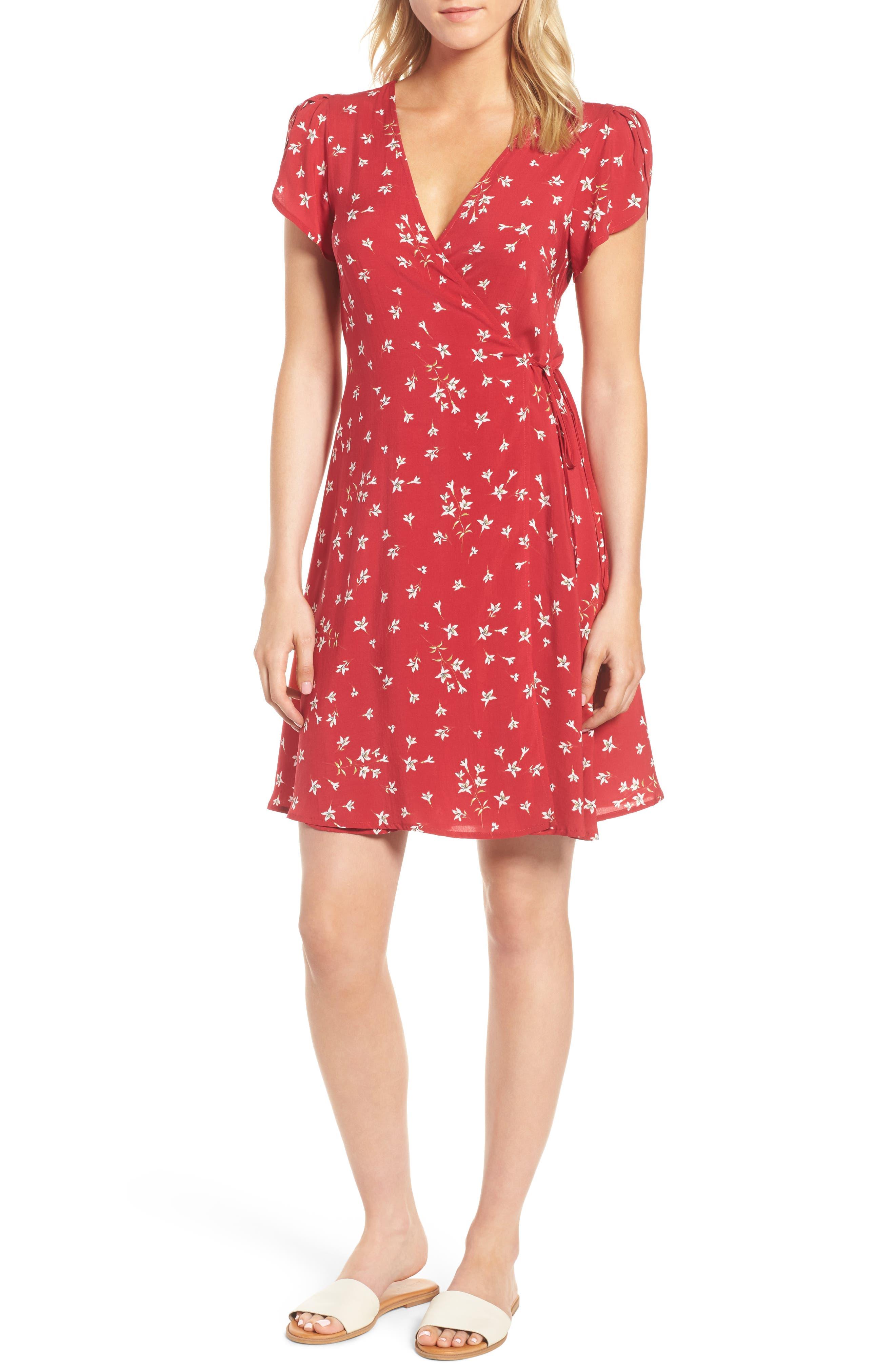 Spring Floral Wrap Dress,                         Main,                         color, 600