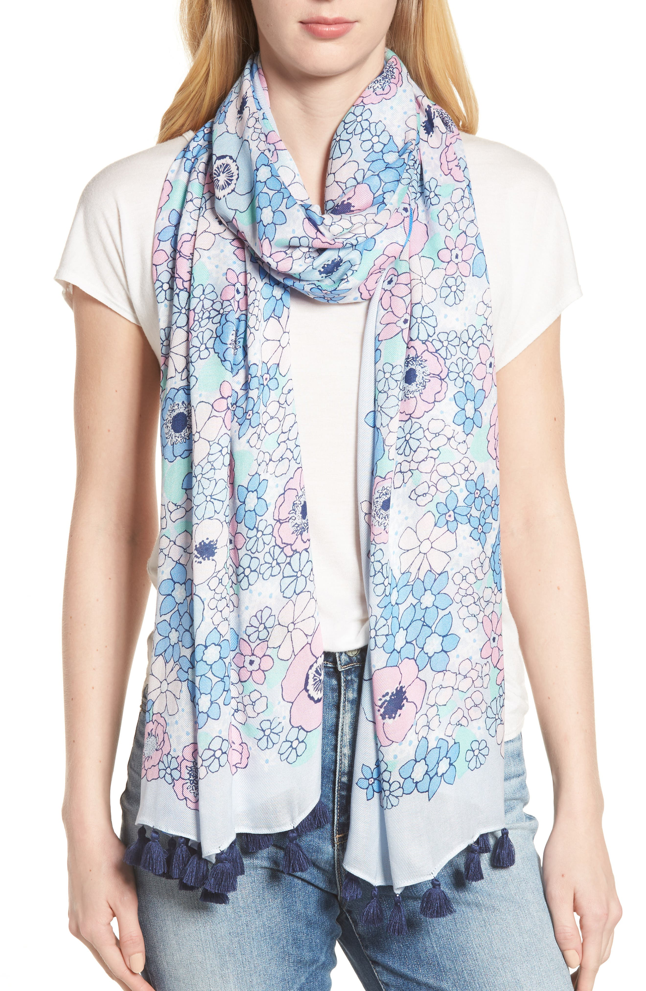 cactus flower oblong scarf,                         Main,                         color, BAYSIDE BLUE