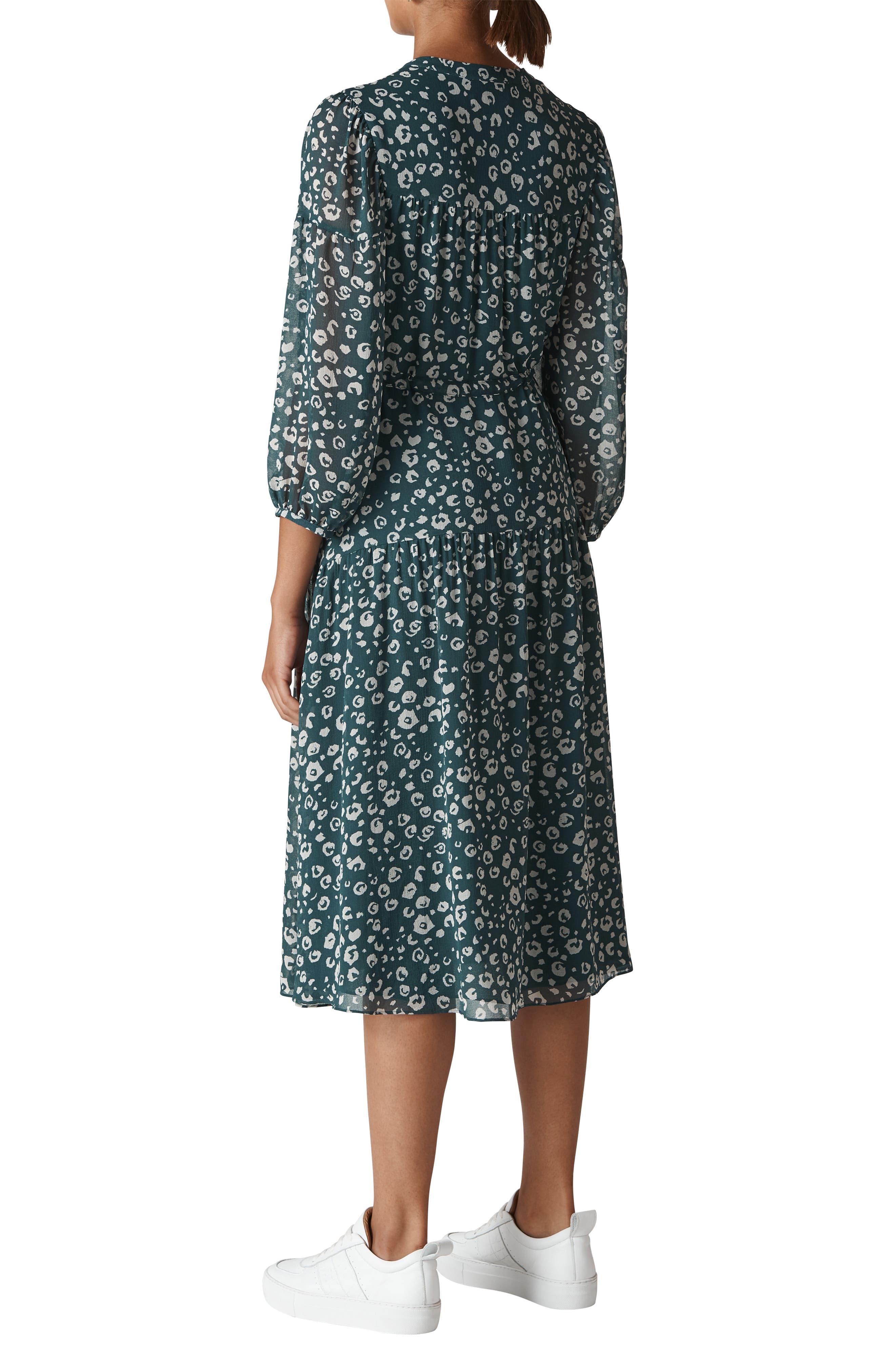 Adrianna Cheetah Print Midi Dress,                             Alternate thumbnail 2, color,                             GREEN/ MULTI