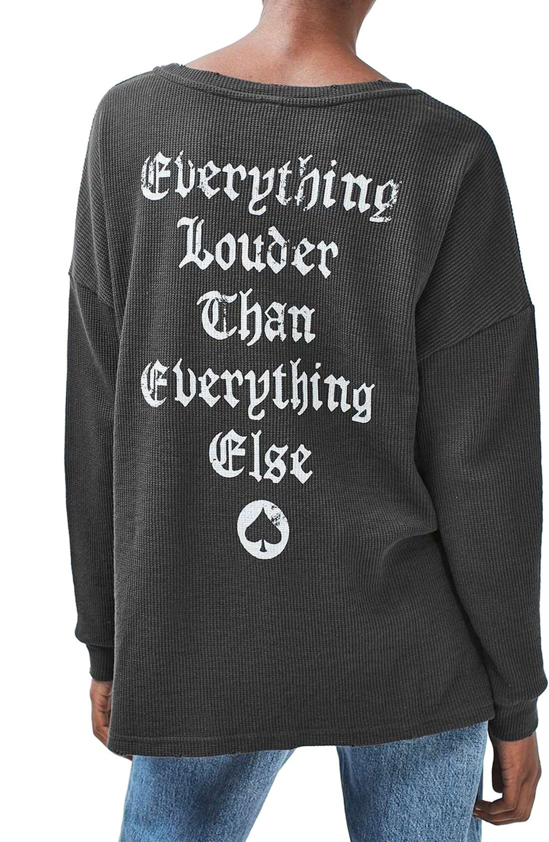 TOPSHOP,                             by And Finally Motorhead Sweatshirt,                             Alternate thumbnail 4, color,                             001