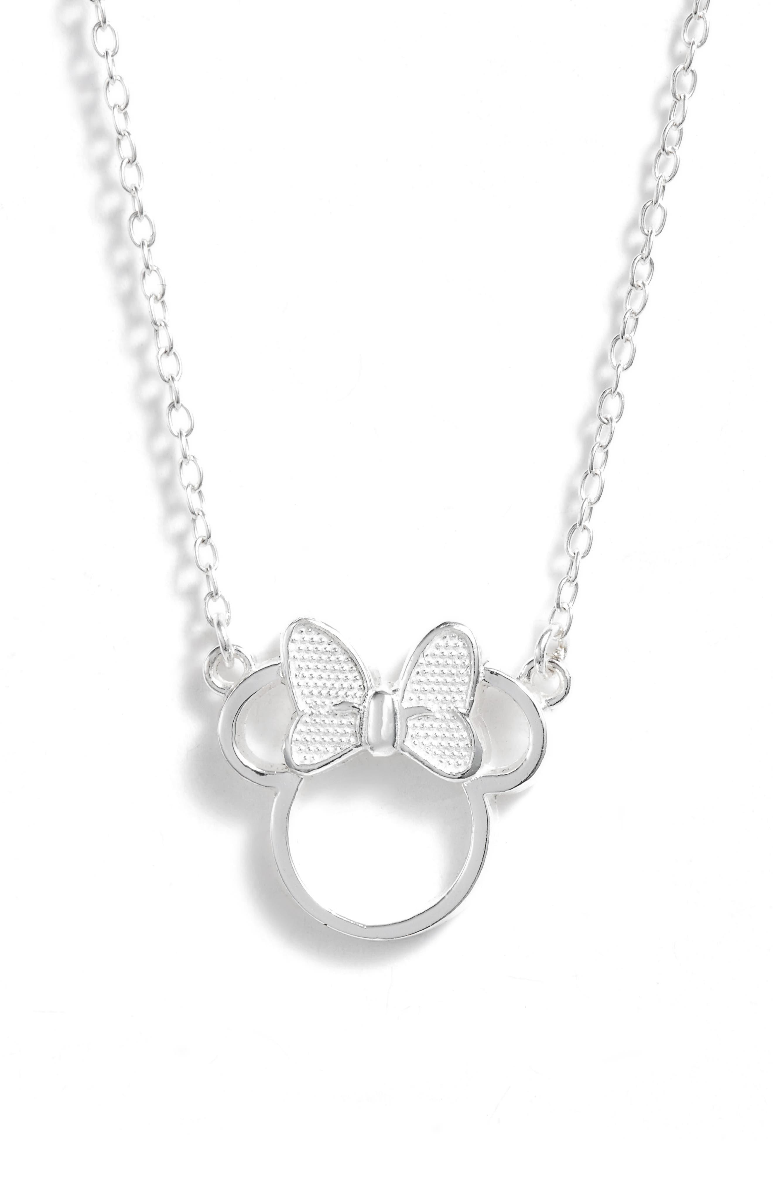Minnie Mouse Pendant Necklace,                         Main,                         color, SILVER