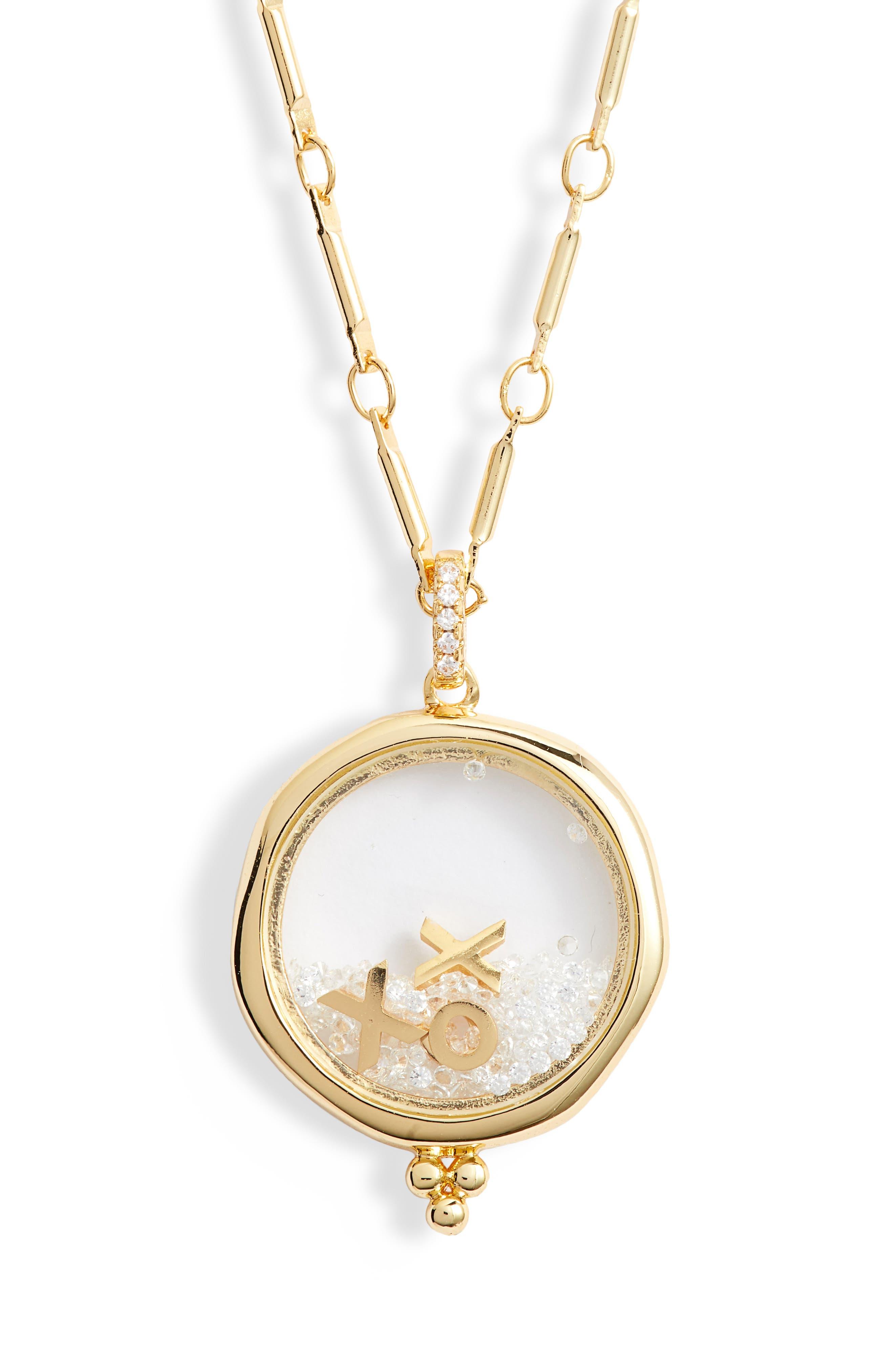 LULU DK X Kristina Schulman Xoxo Shaker Pendant Necklace in Gold