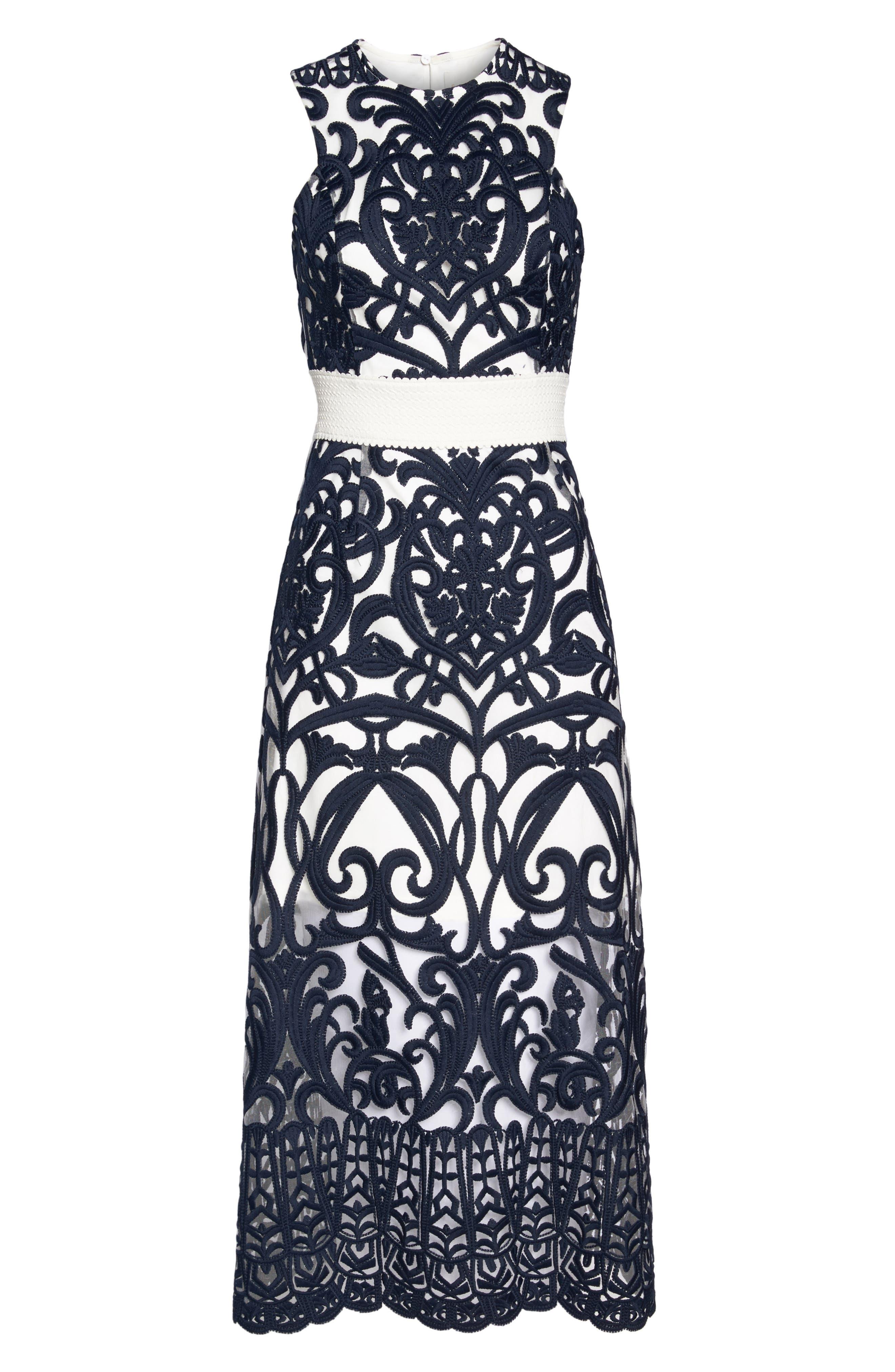 Rosabel Embroidered Midi Dress,                             Alternate thumbnail 6, color,                             410