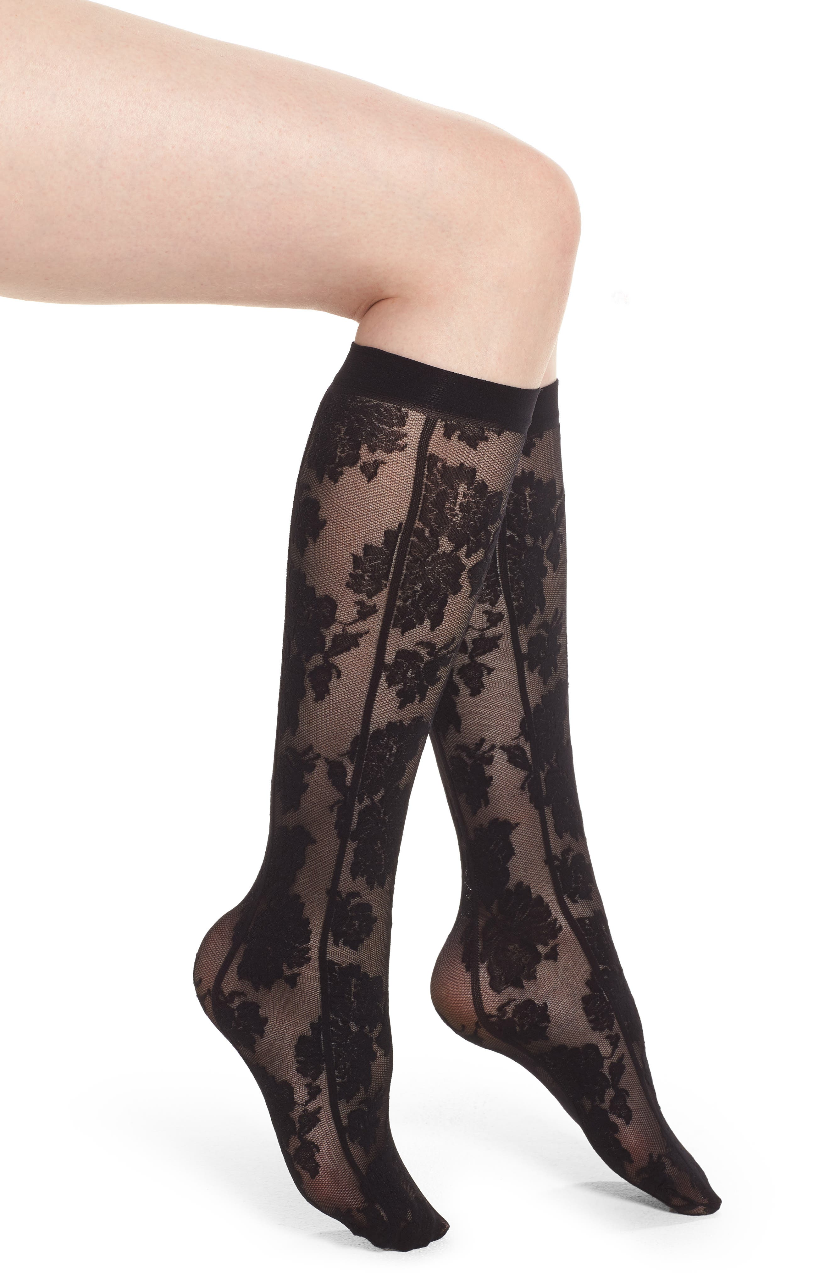Gambaletto Flower Bouquet Knee Highs,                             Main thumbnail 1, color,                             001