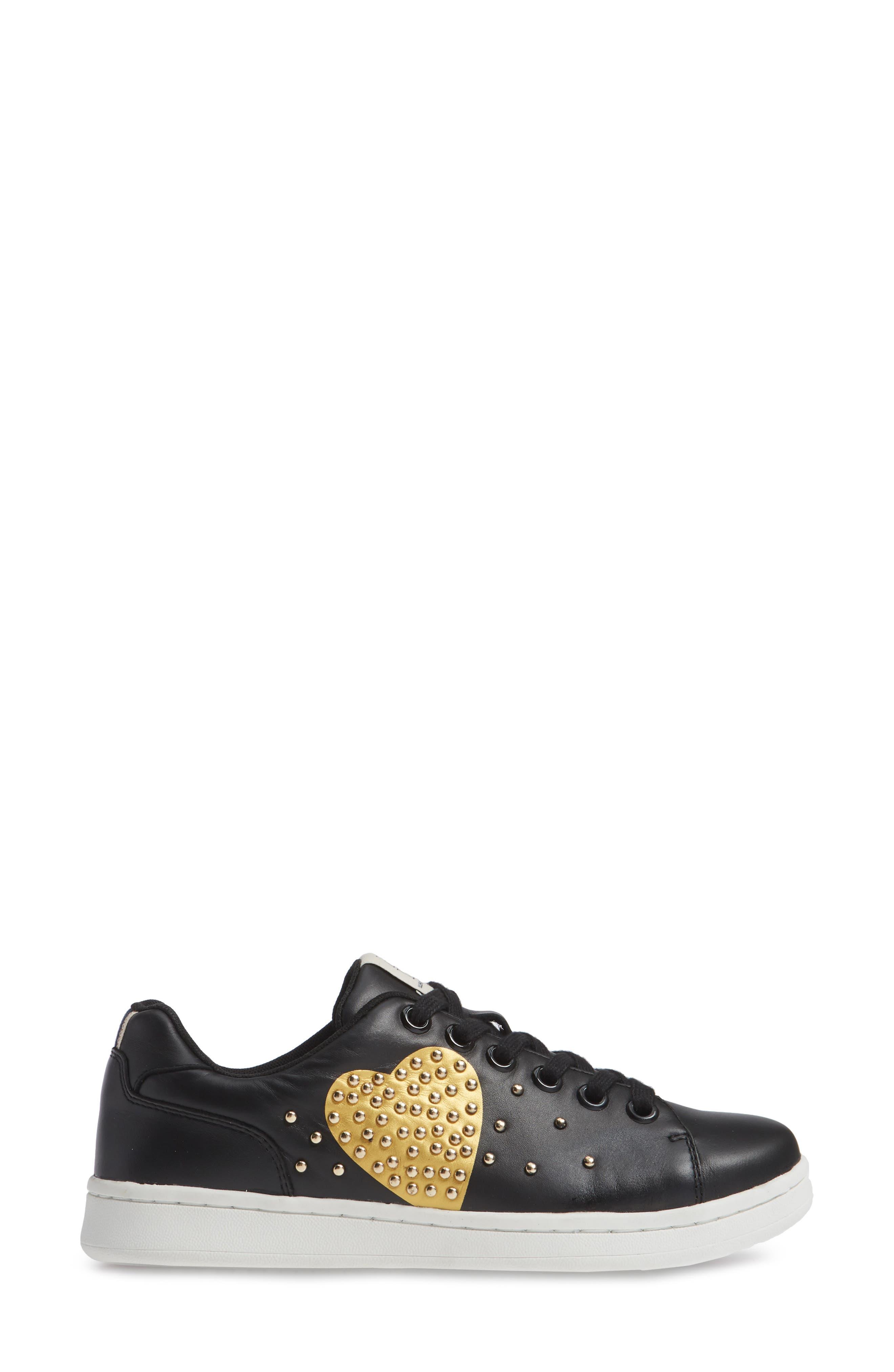 Chamour Sneaker,                             Alternate thumbnail 3, color,                             BLACK/ GOLD LEATHER