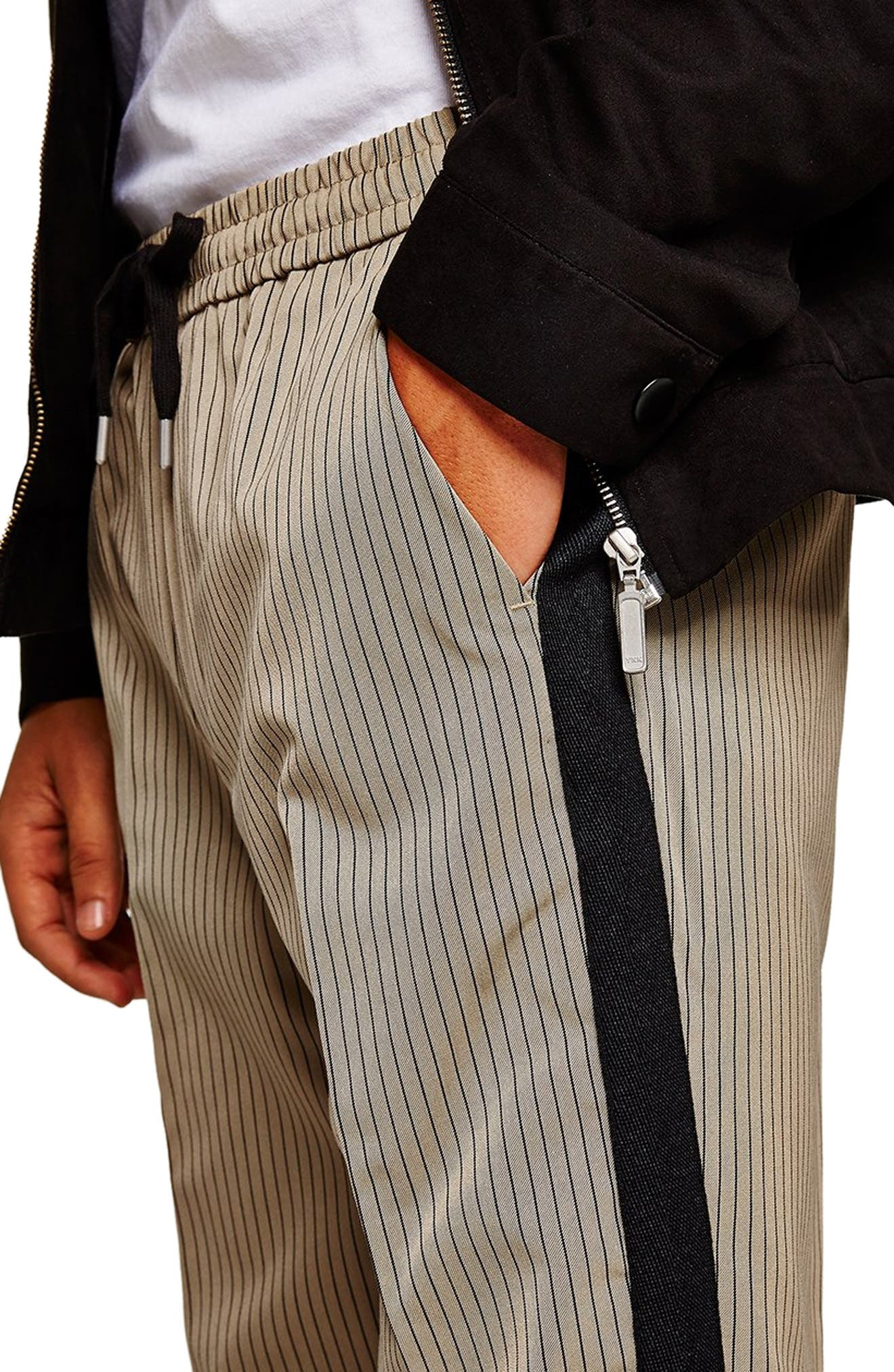 Slim Fit Pinstripe Jogger Pants,                             Alternate thumbnail 3, color,                             LIGHT BROWN