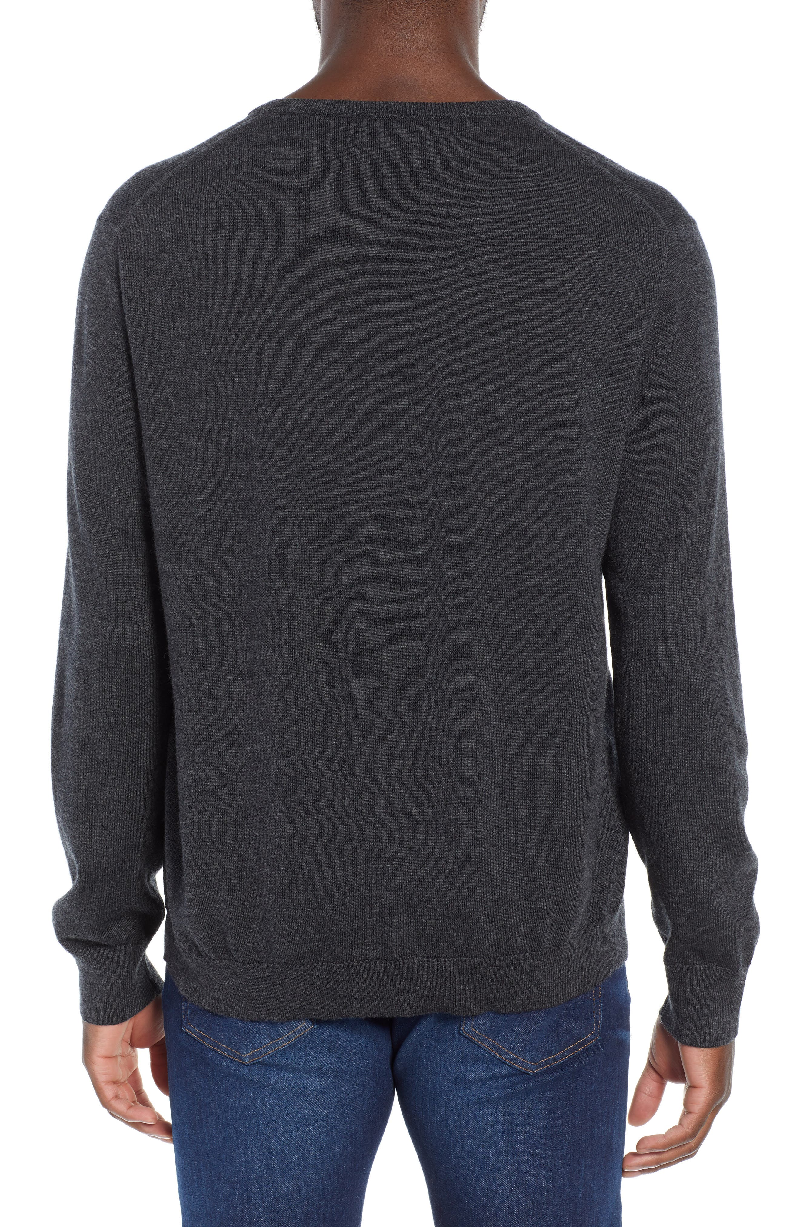 V-Neck Merino Wool Sweater,                             Alternate thumbnail 2, color,                             HEATHER CHARCOAL
