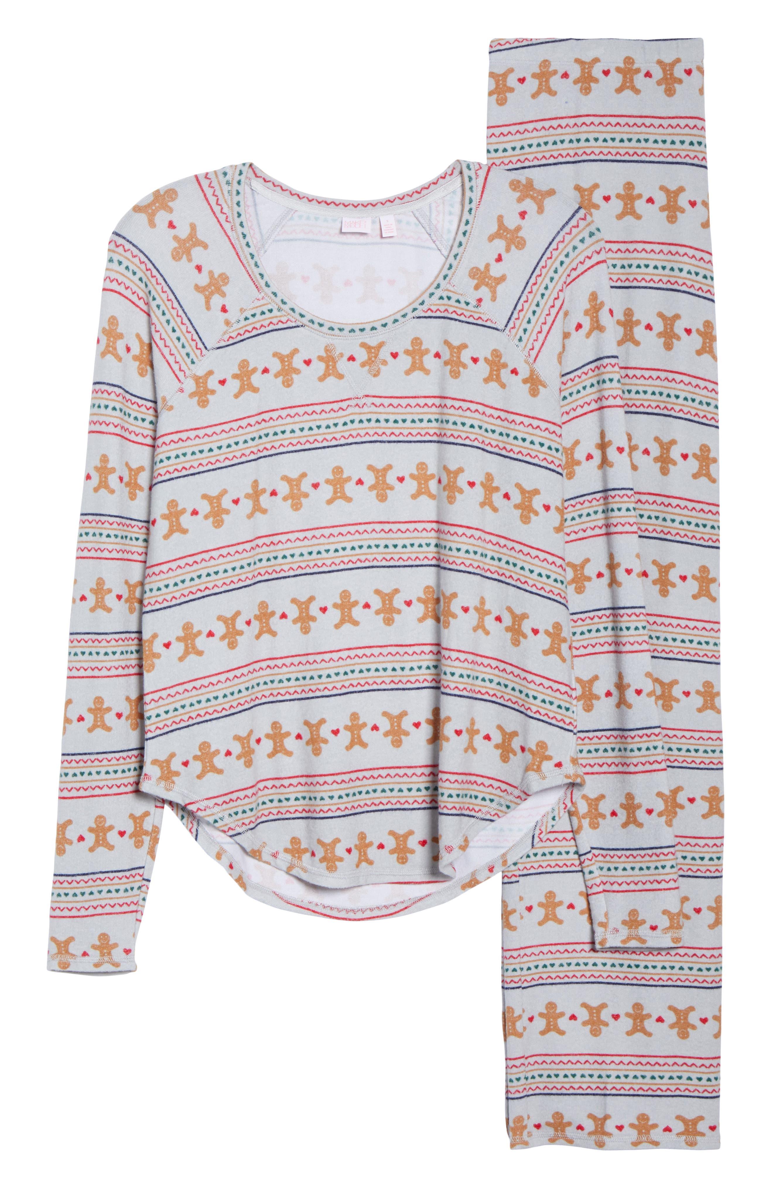 Knit Girlfriend Pajamas & Eye Mask,                             Alternate thumbnail 6, color,                             GREY MICRO GINGERBREAD